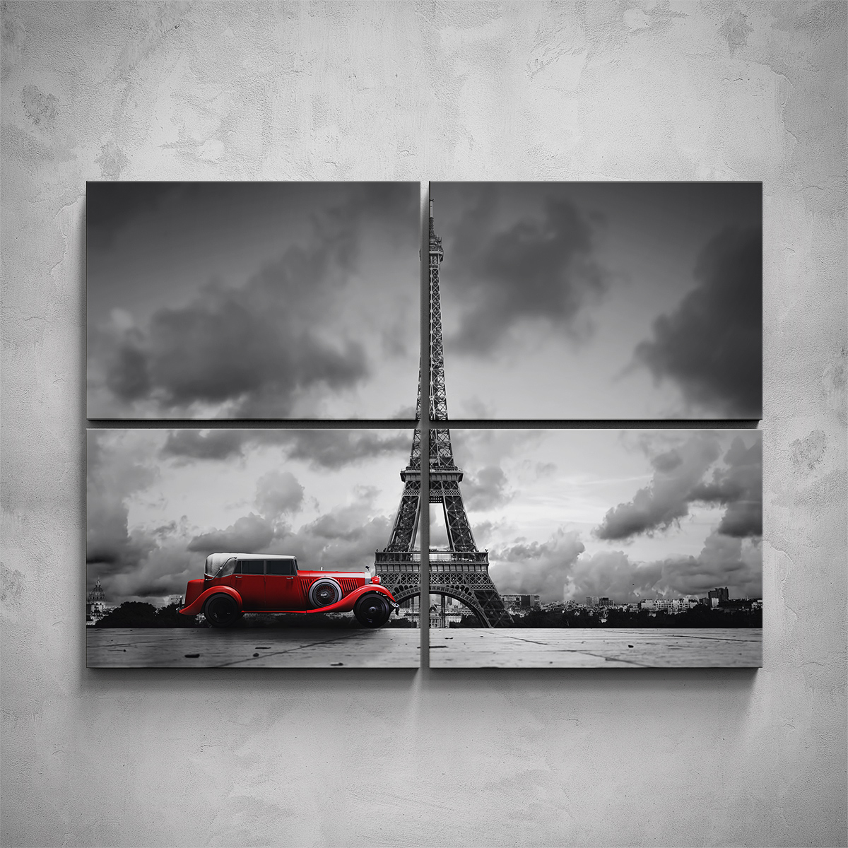 4-dílný obraz - Eiffelova věž - černobílá - PopyDesign