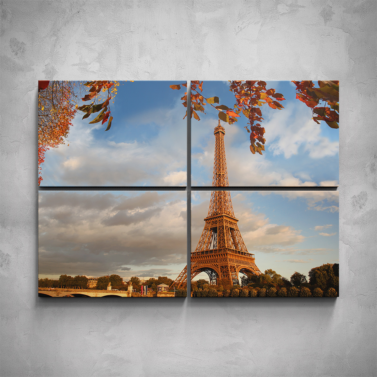 4-dílný obraz - Podzimní Eiffelova věž - PopyDesign