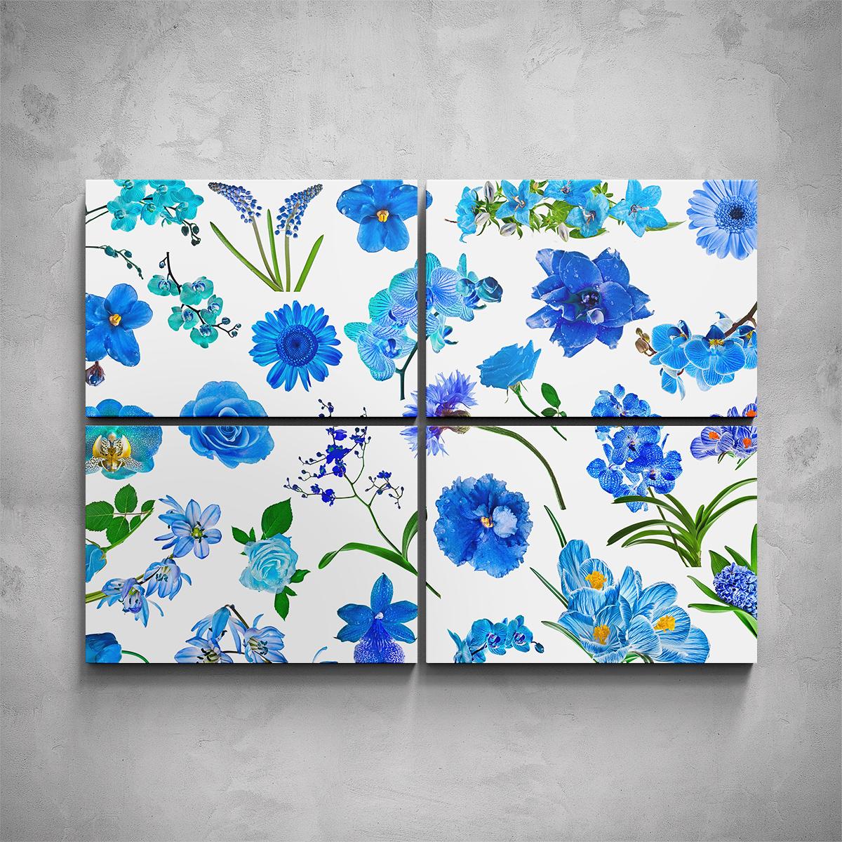 4-dílný obraz - Set modrých květů - PopyDesign