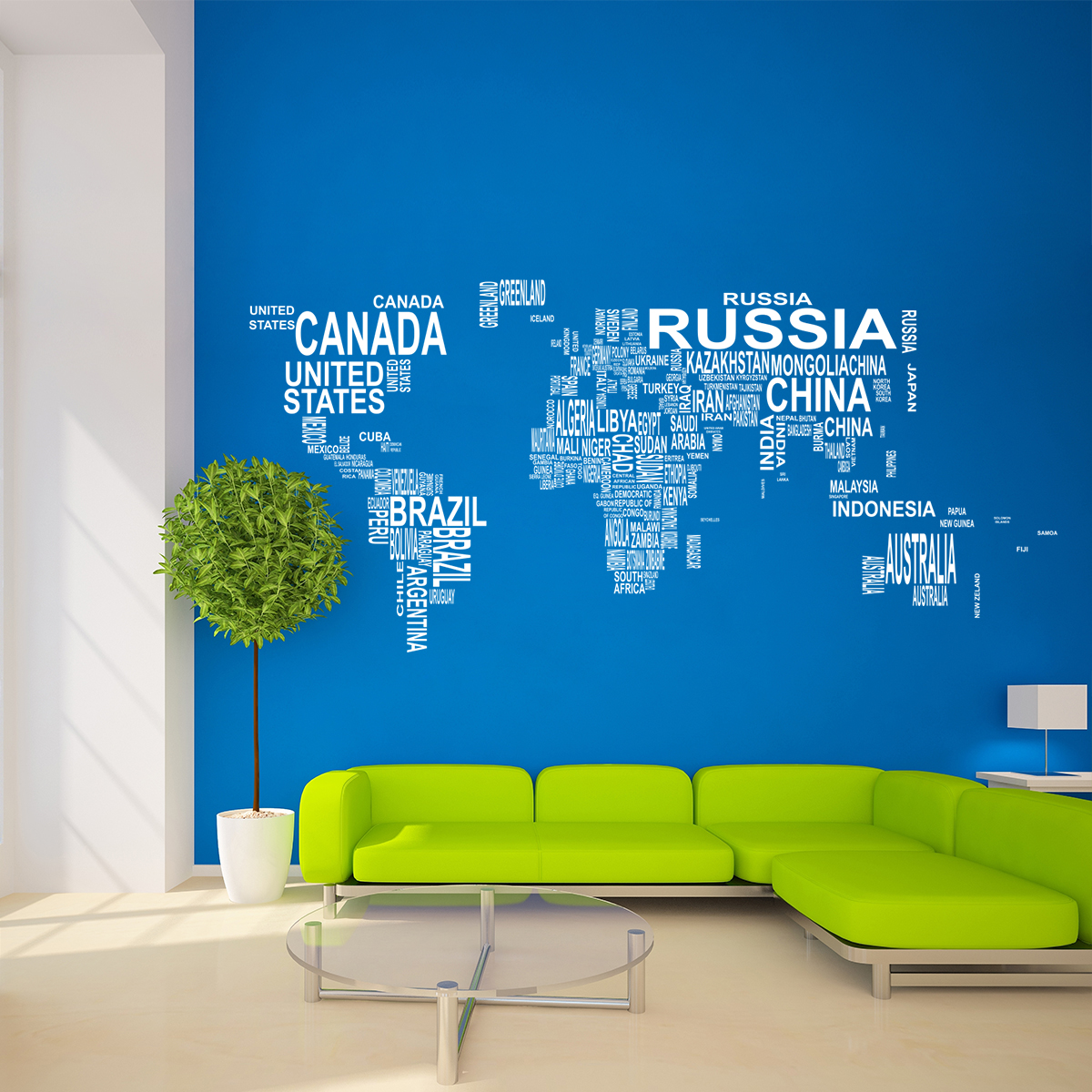 Samolepka na zeď - Mapa světa z textu - 206x95 cm - PopyDesign