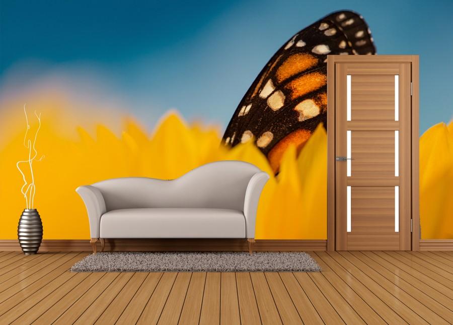 Tapeta - Motýl v květu - 120x80 cm - PopyDesign
