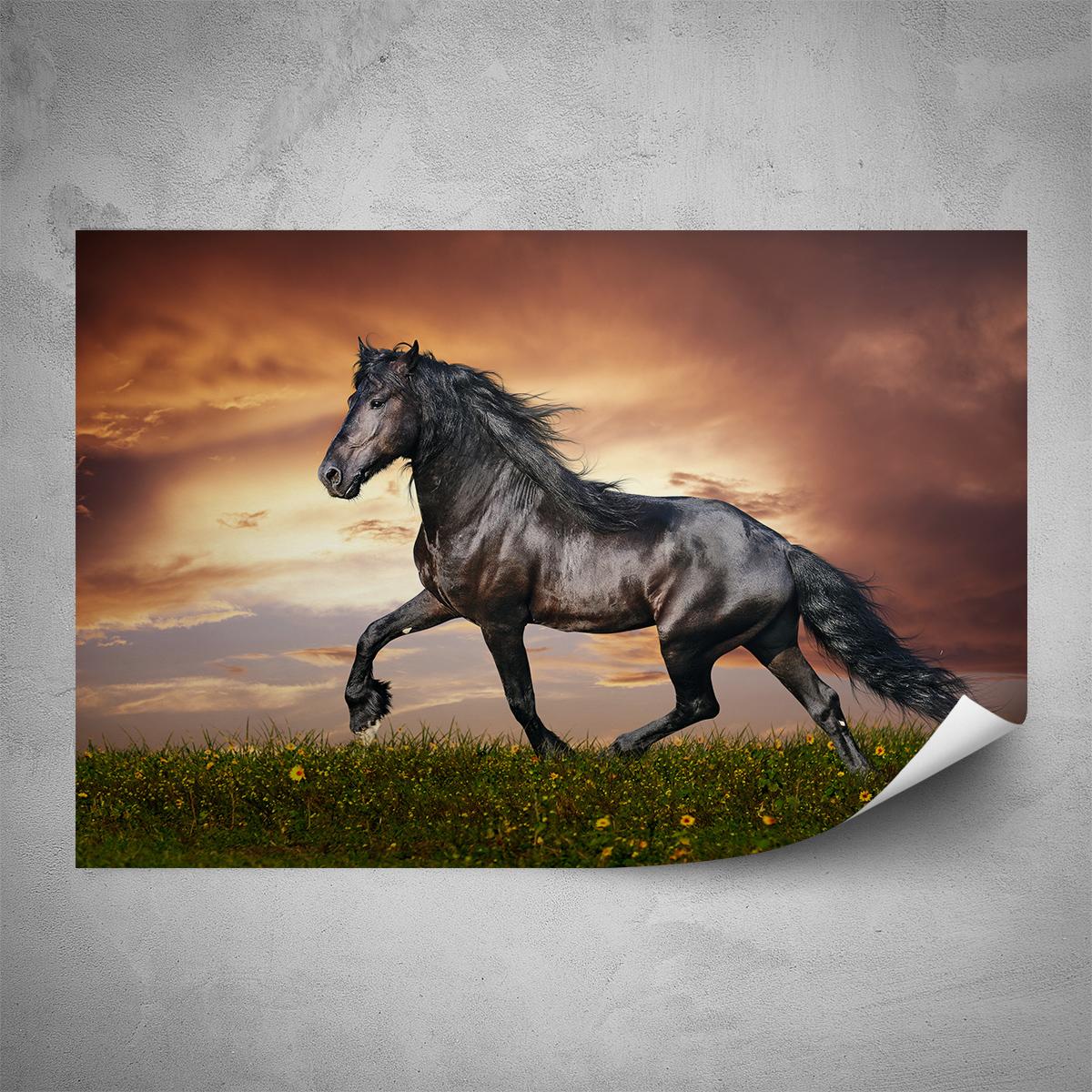 Plakát - Hnědý kůň - 60x40 cm - PopyDesign