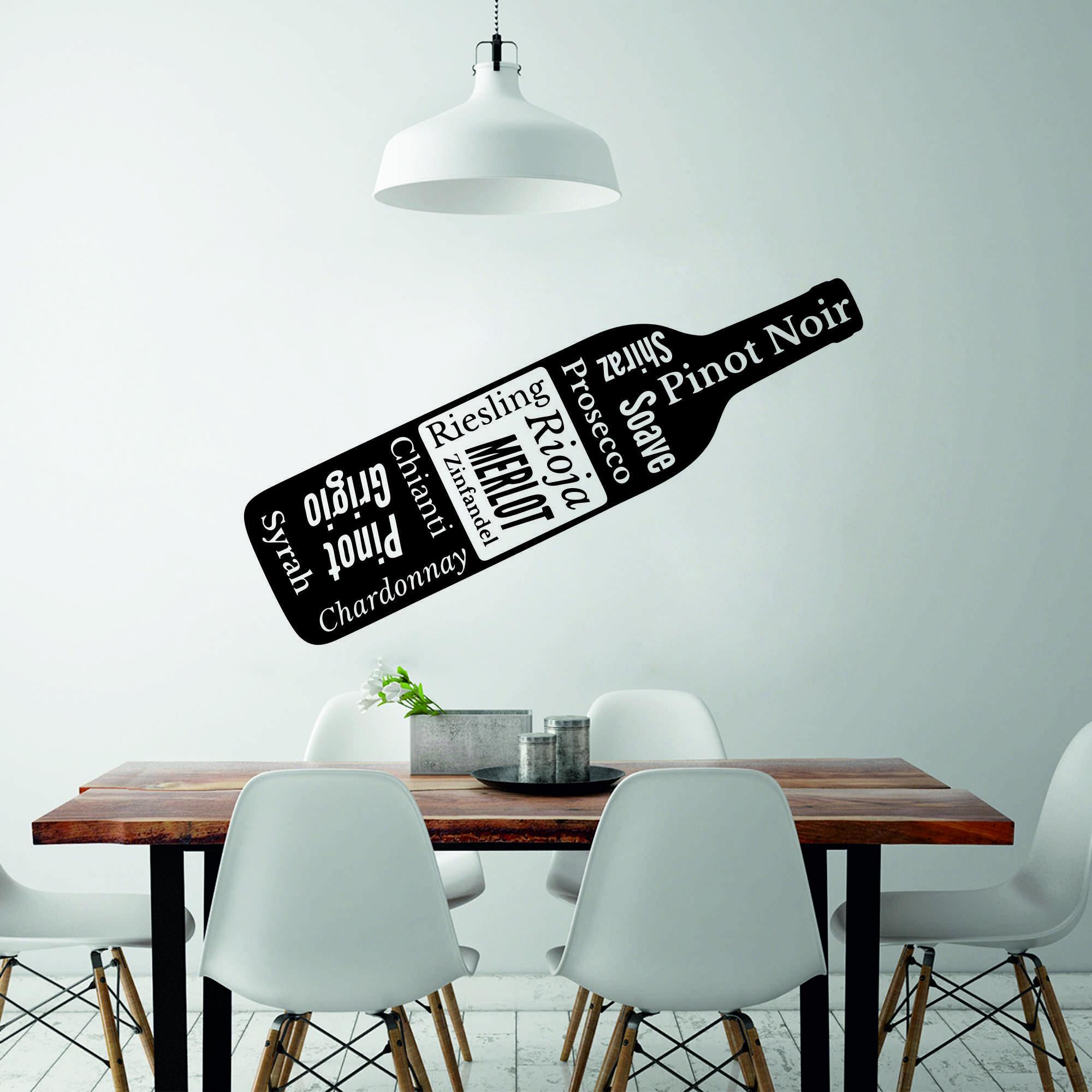 Samolepka na zeď - Láhev s nápisy - 16x60 cm - PopyDesign