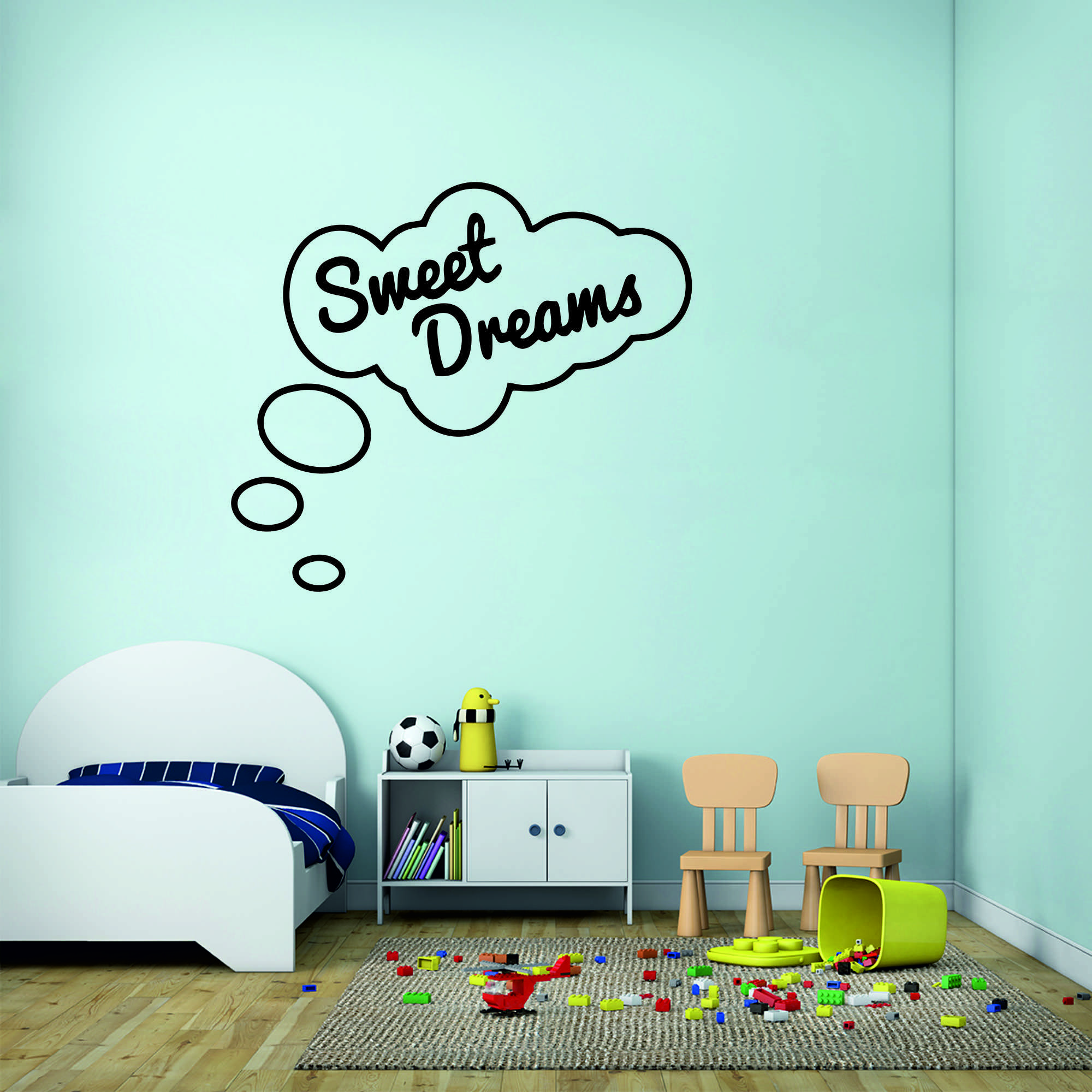 Samolepka na zeď - Sweet dreams nápis - 60x53 cm - PopyDesign