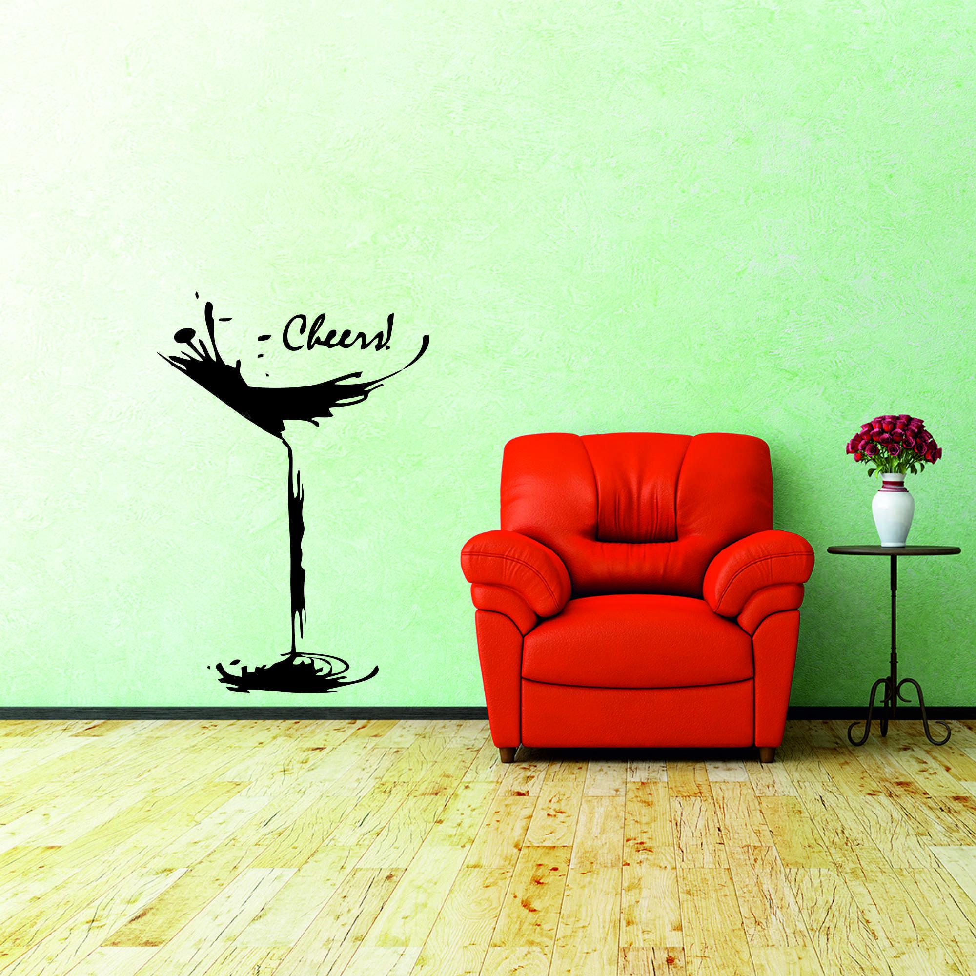 Samolepka na zeď - Sklenka Cheers ! - 40x60 cm - PopyDesign