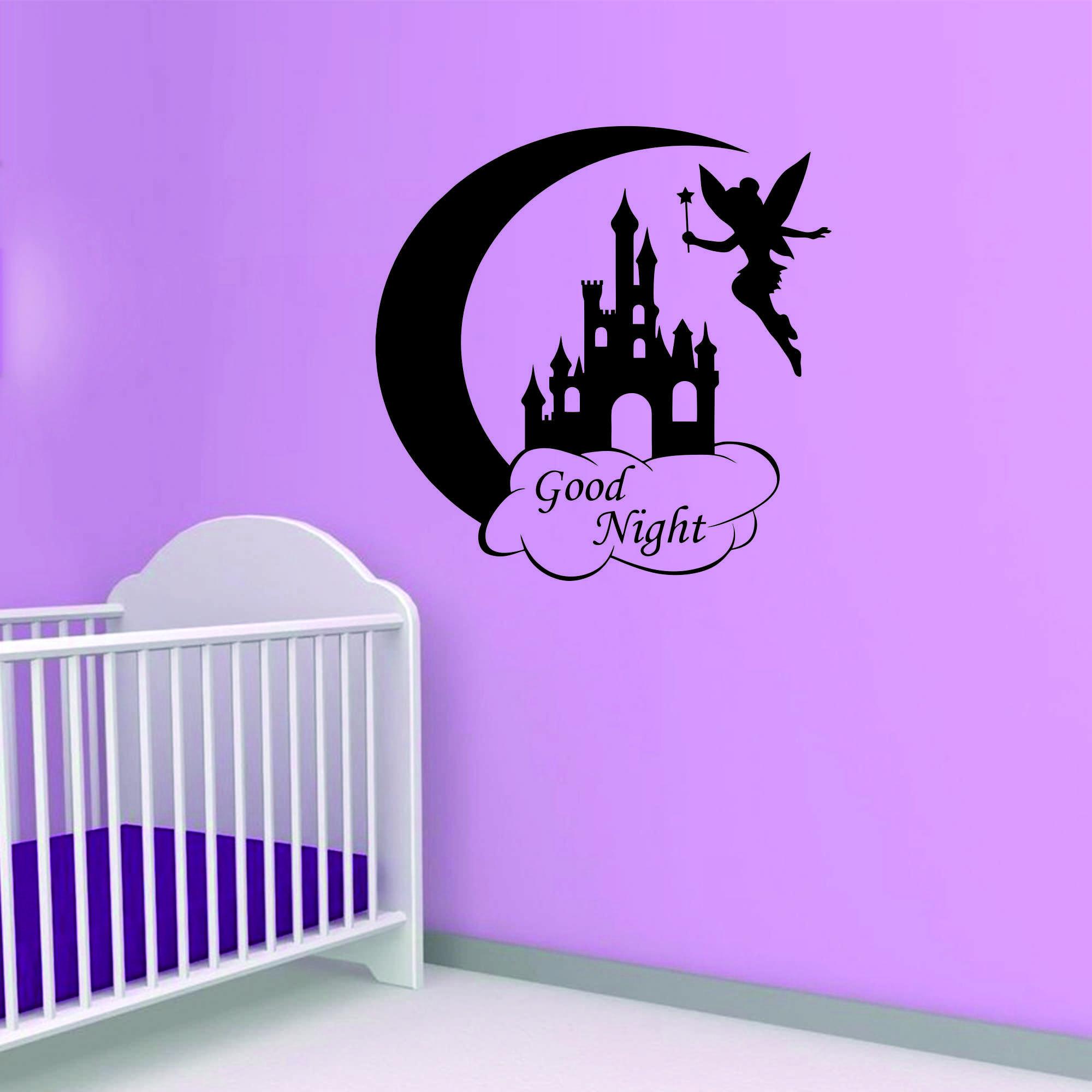Samolepka na zeď - Good night nápis - 120x120 cm - PopyDesign