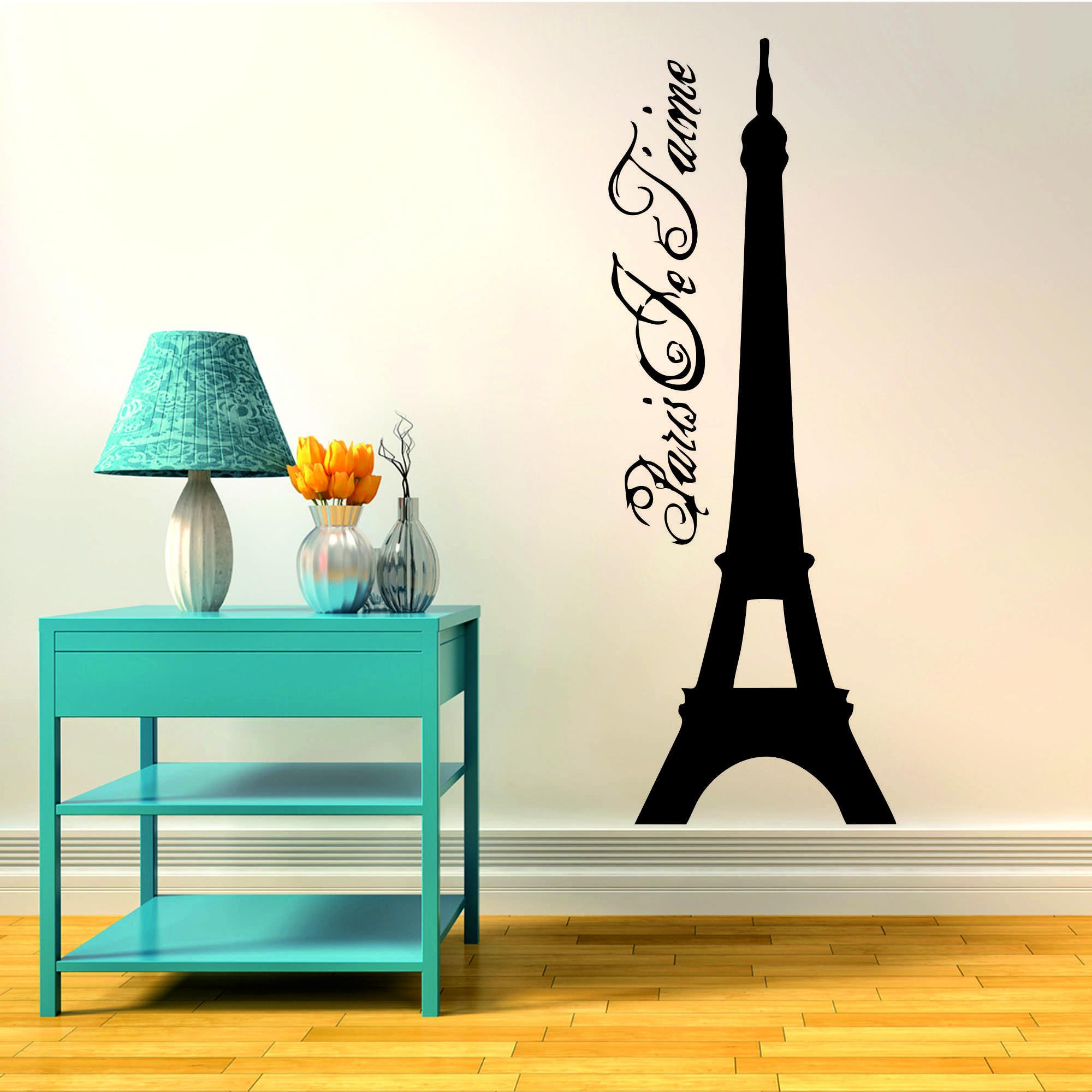 Samolepka na zeď - Eiffelova věž s nápisem - 22x60 cm - PopyDesign