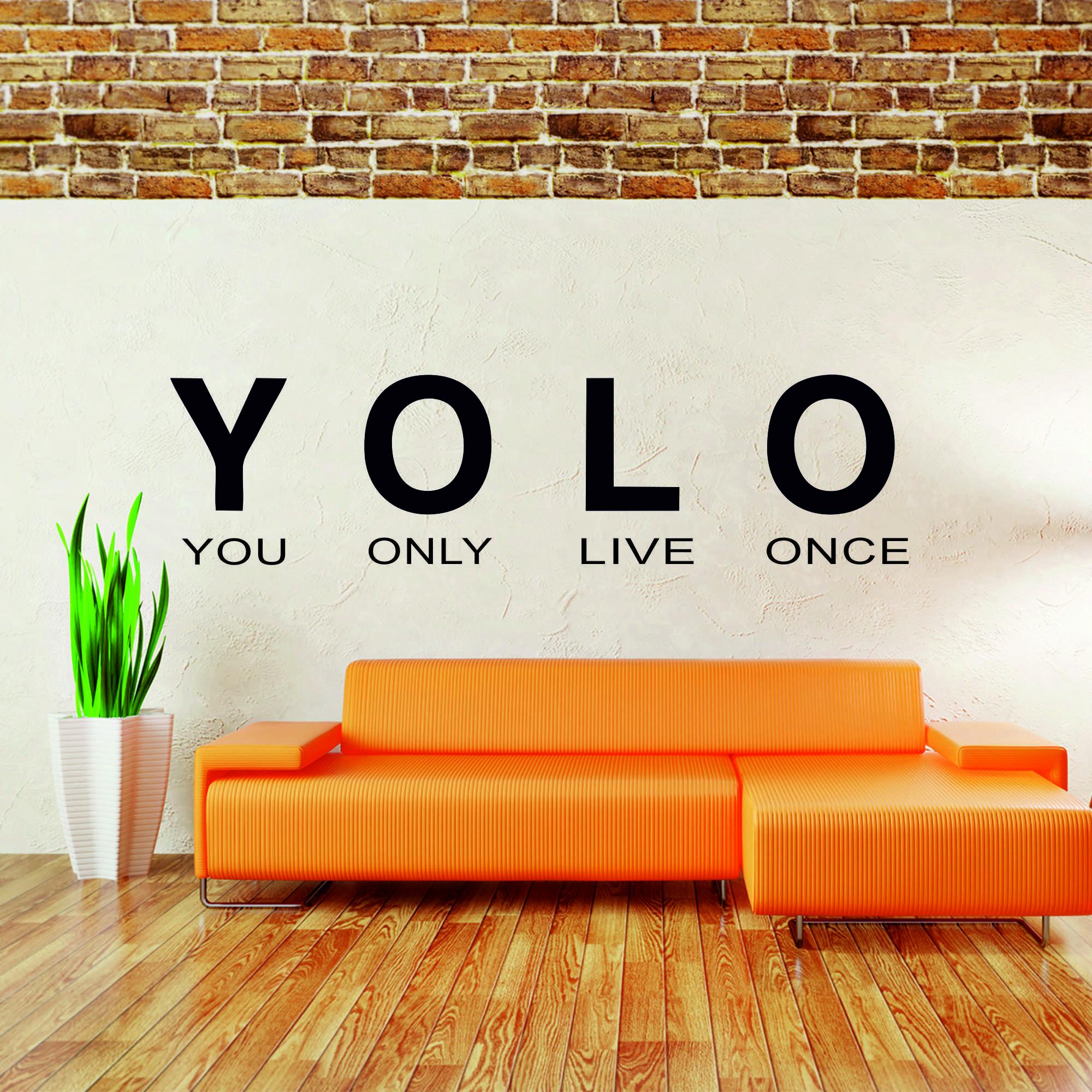 Samolepka na zeď - YOLO nápis - 60x16 cm - PopyDesign