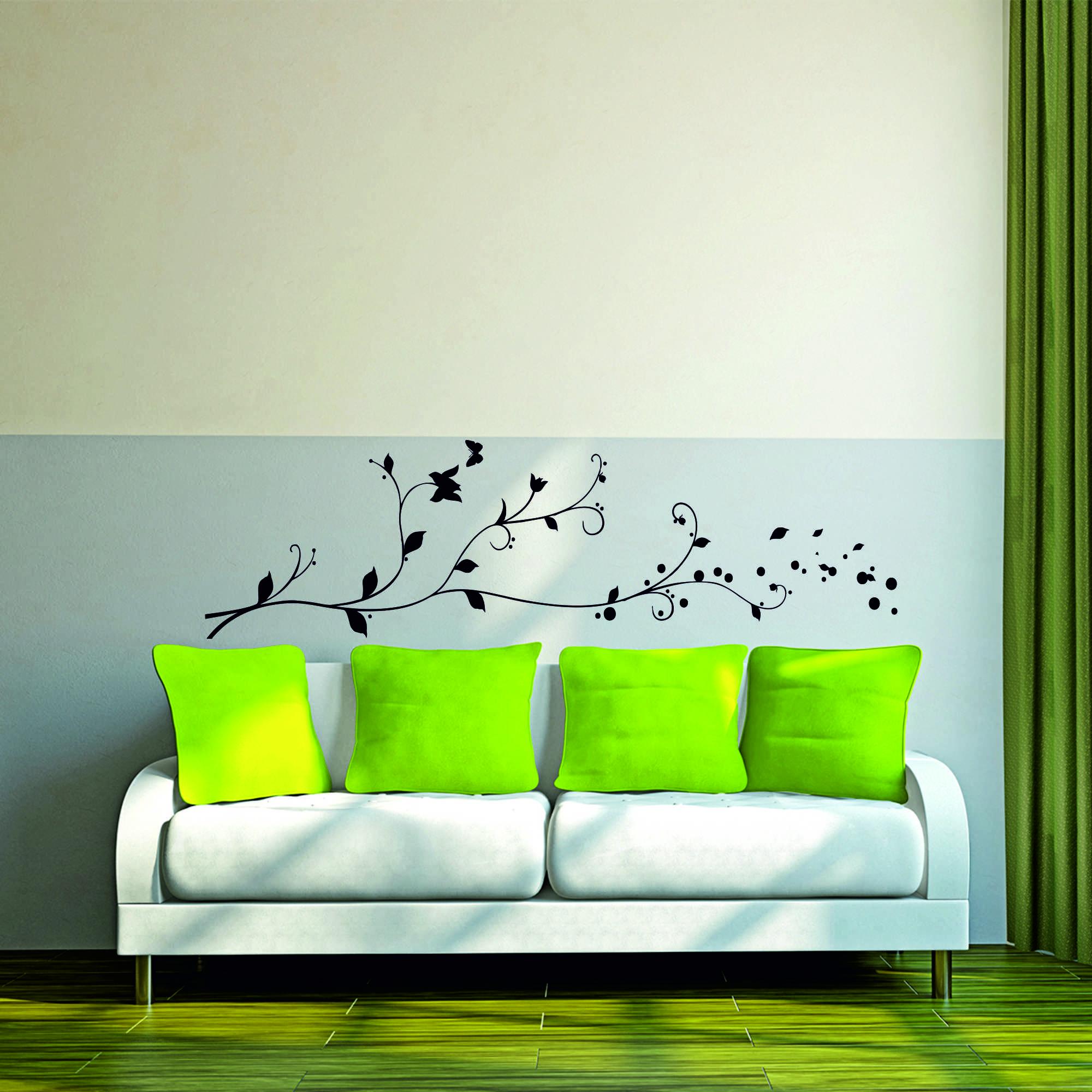Samolepka na zeď - Dlouhá větvička - 60x17 cm - PopyDesign
