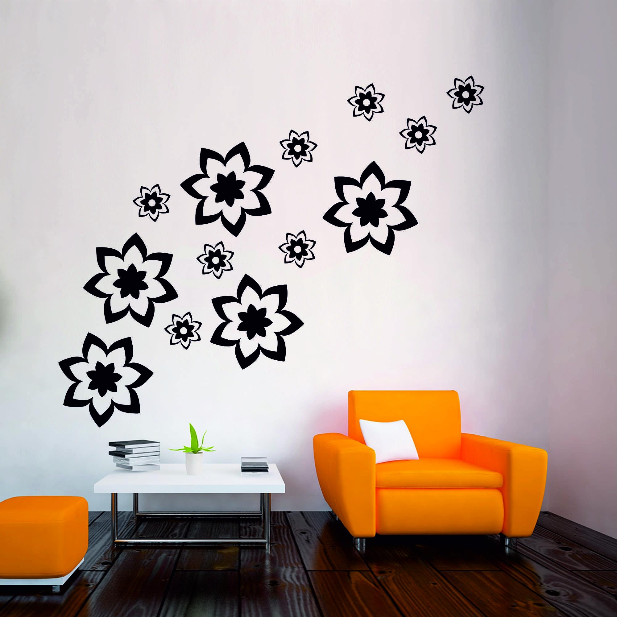 Samolepka na zeď - Květy set 4 - PopyDesign