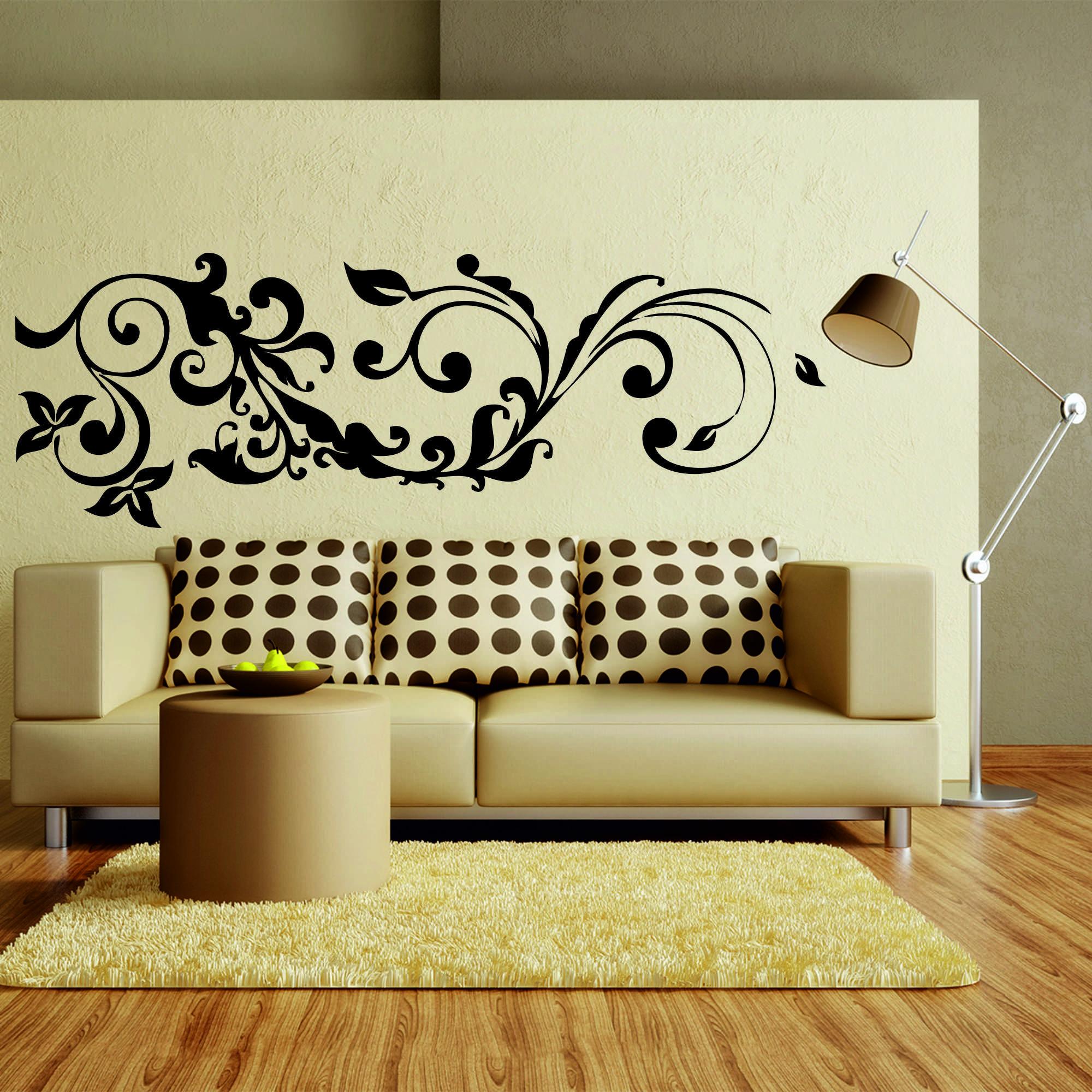 Samolepka na zeď - Květinový ornament - 60x20 cm - PopyDesign