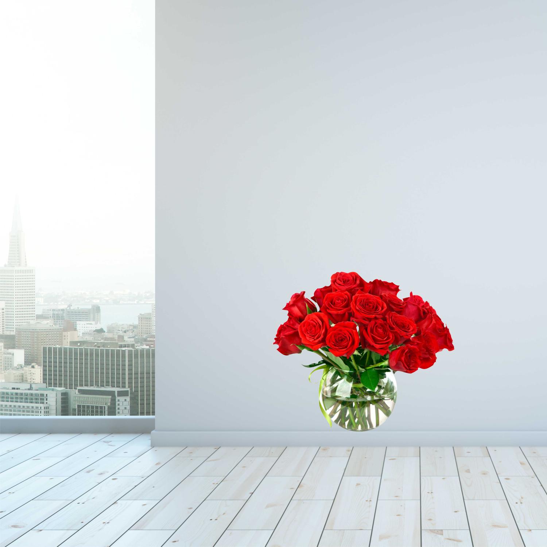 Barevná samolepka na zeď - Kytice růží - 120x104 cm - PopyDesign