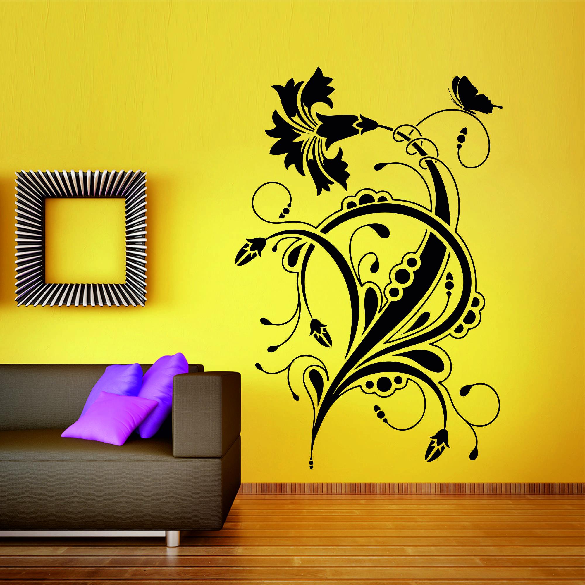 Samolepka na zeď - Květinový ornament 3 - 80x120 cm - PopyDesign