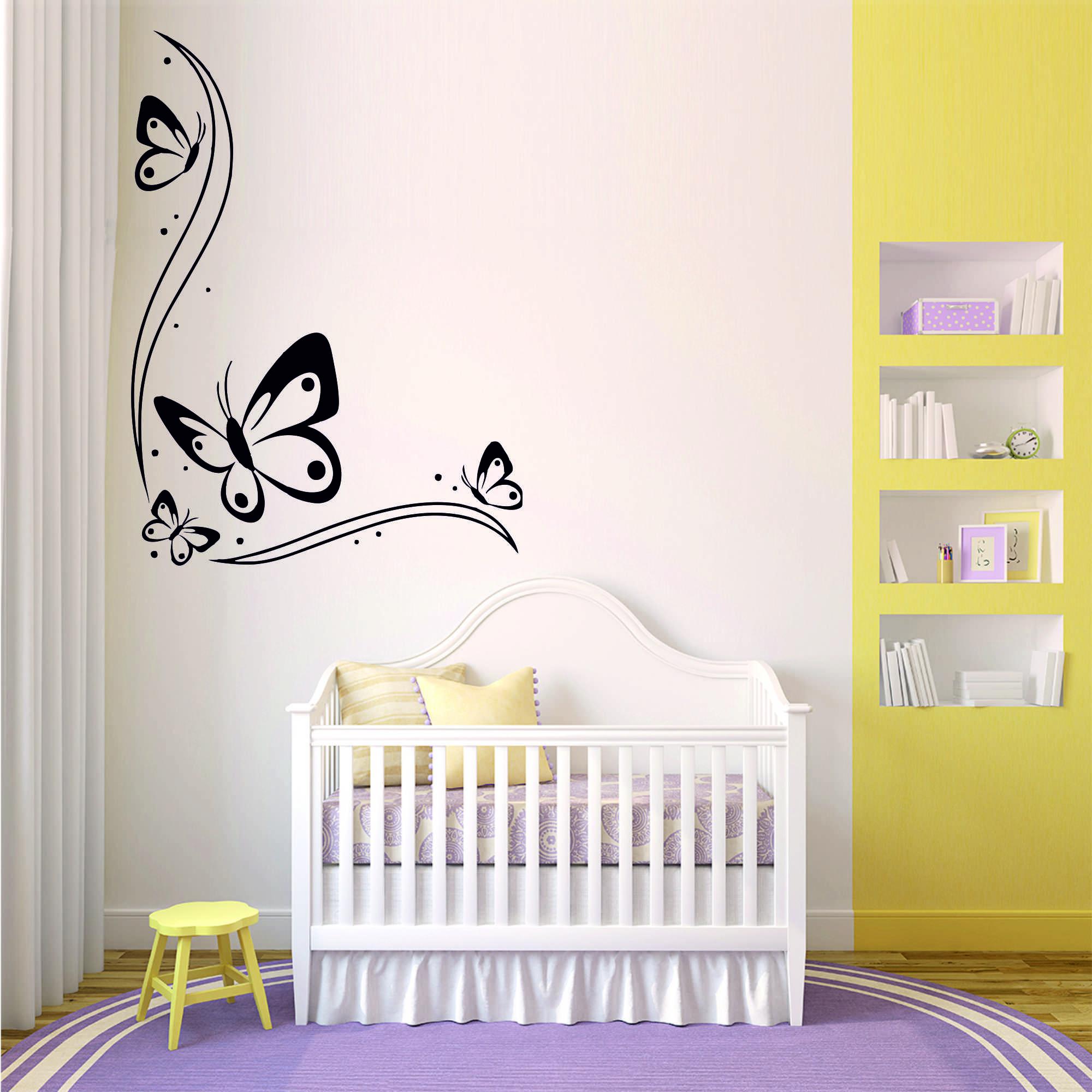 Samolepka na zeď - Motýl ornament - 44x60 cm - PopyDesign