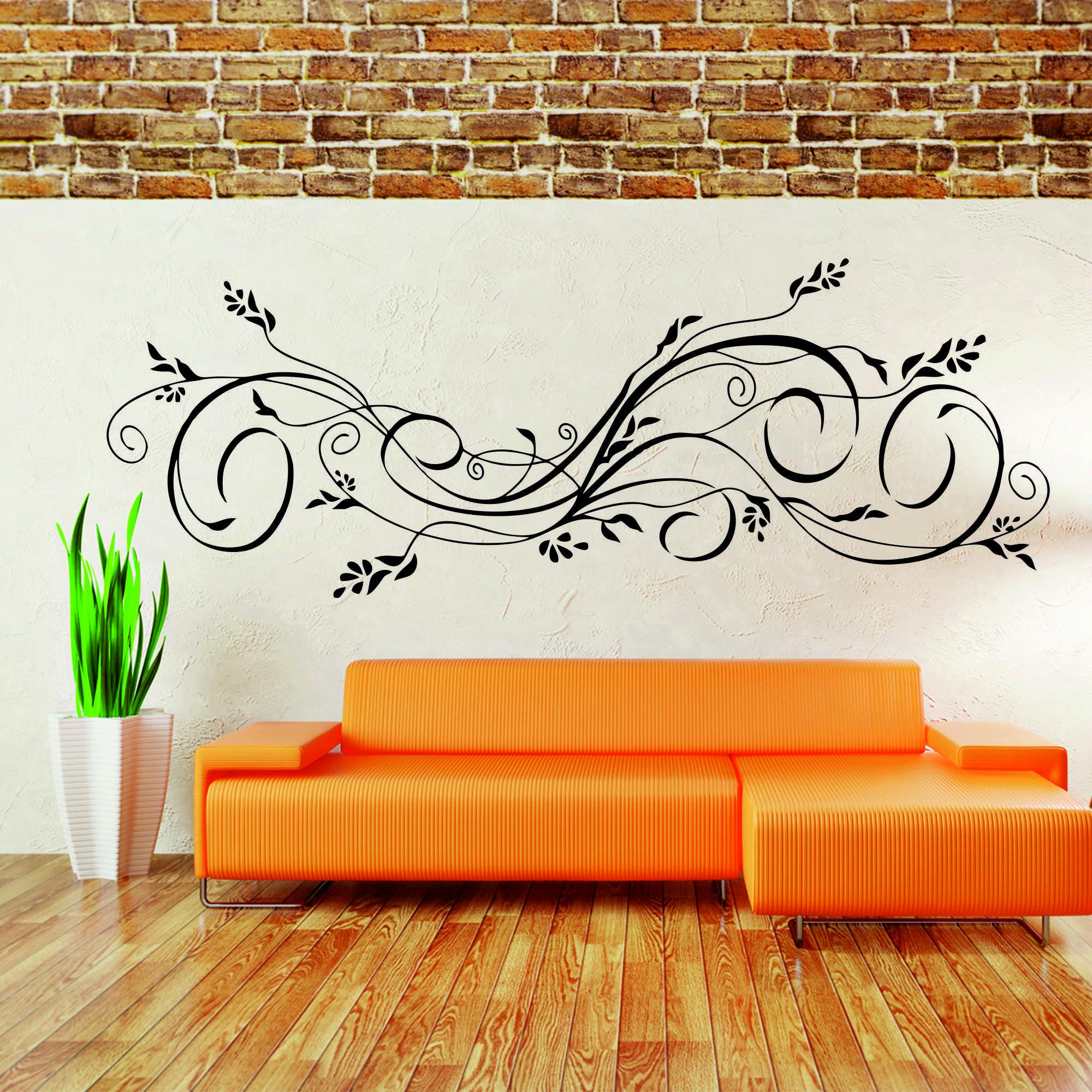 Samolepka na zeď - Květinový ornament 5 - 60x22 cm - PopyDesign