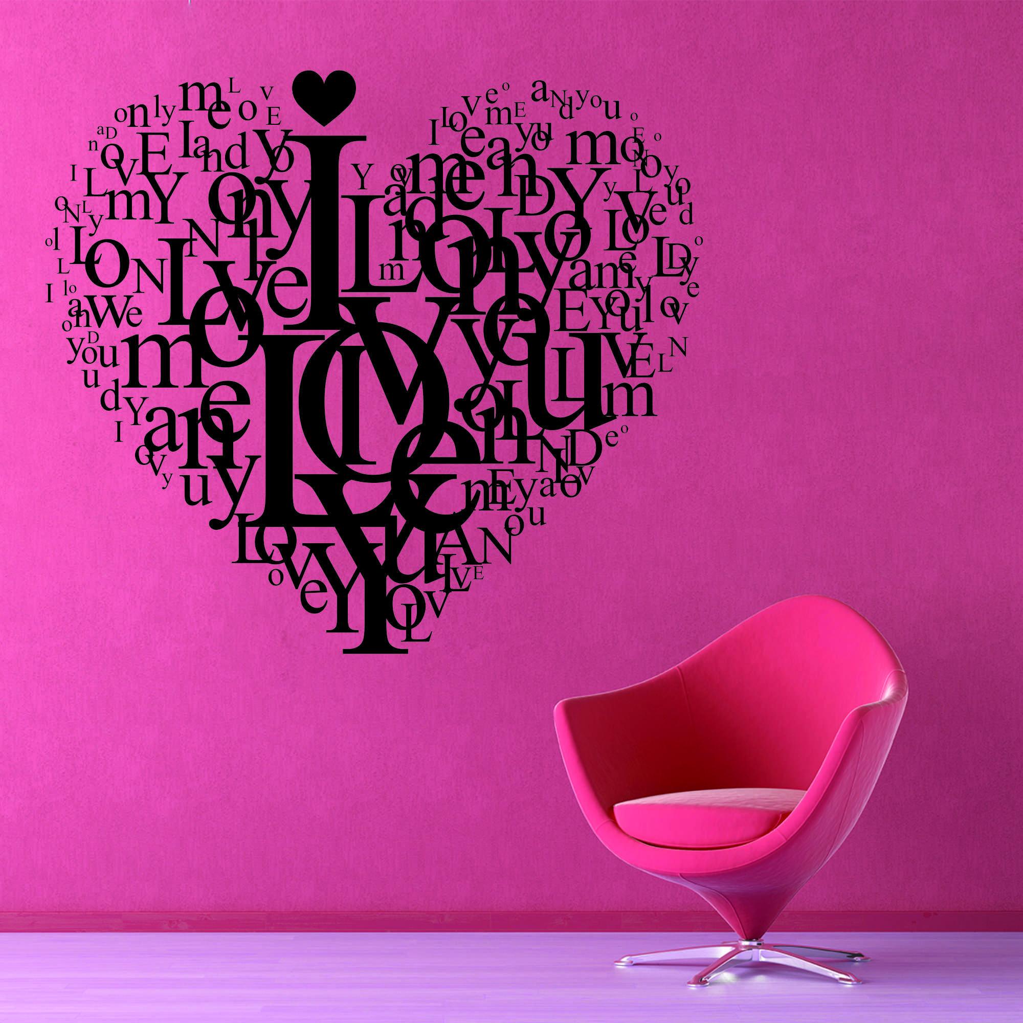 Samolepka na zeď - Love srdce - 60x53 cm - PopyDesign