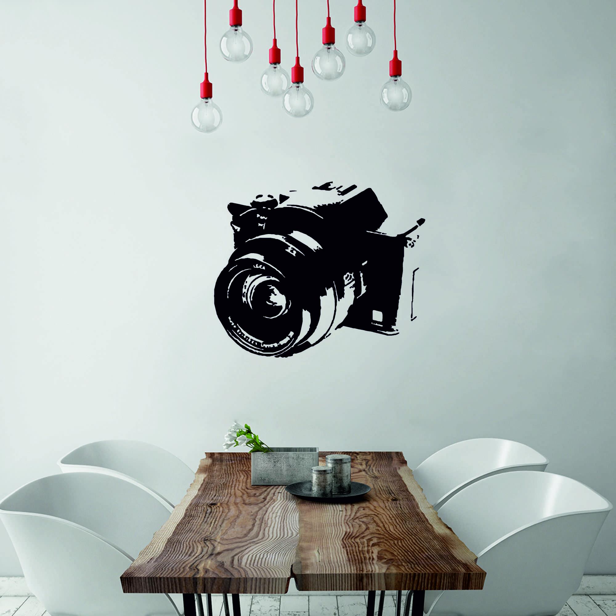 Samolepka na zeď - Fotoaparát - 60x50 cm - PopyDesign
