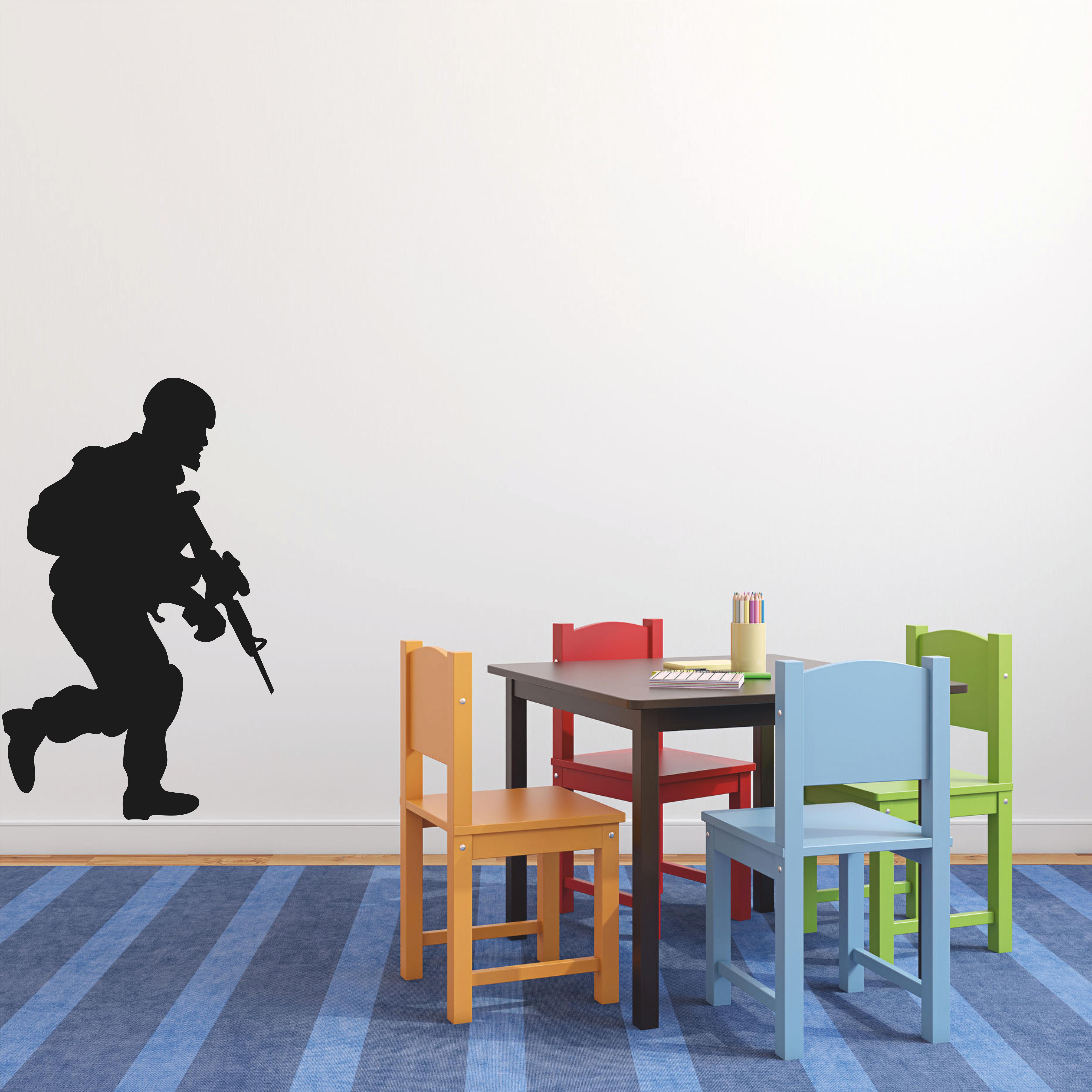 Samolepka na zeď - Voják s puškou - 74x120 cm - PopyDesign