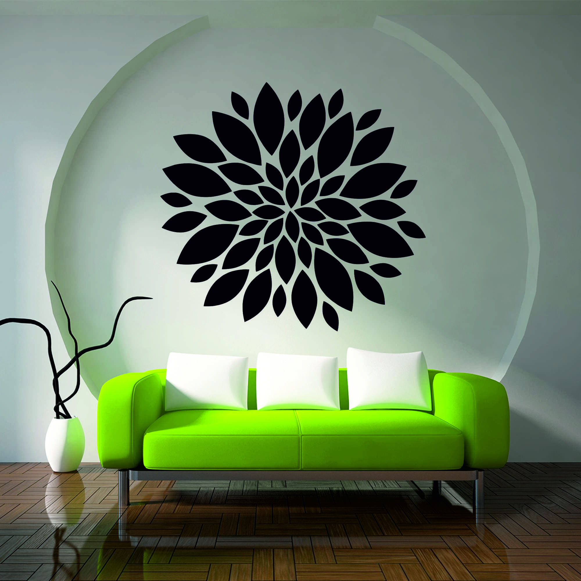 Samolepka na zeď - Velký květ - 40x39 cm - PopyDesign