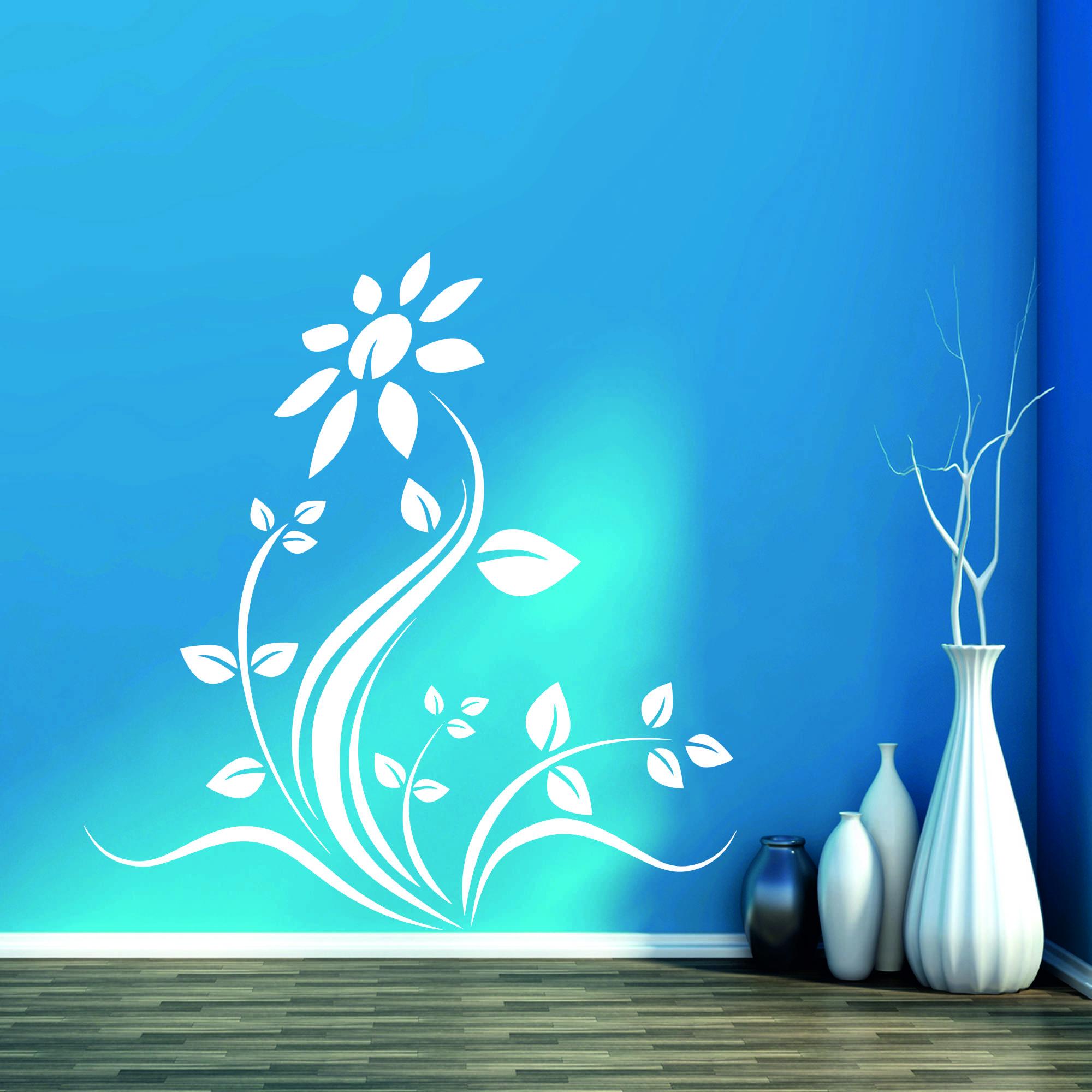 Samolepka na zeď - Rozkvetlá květina - 58x60 cm - PopyDesign