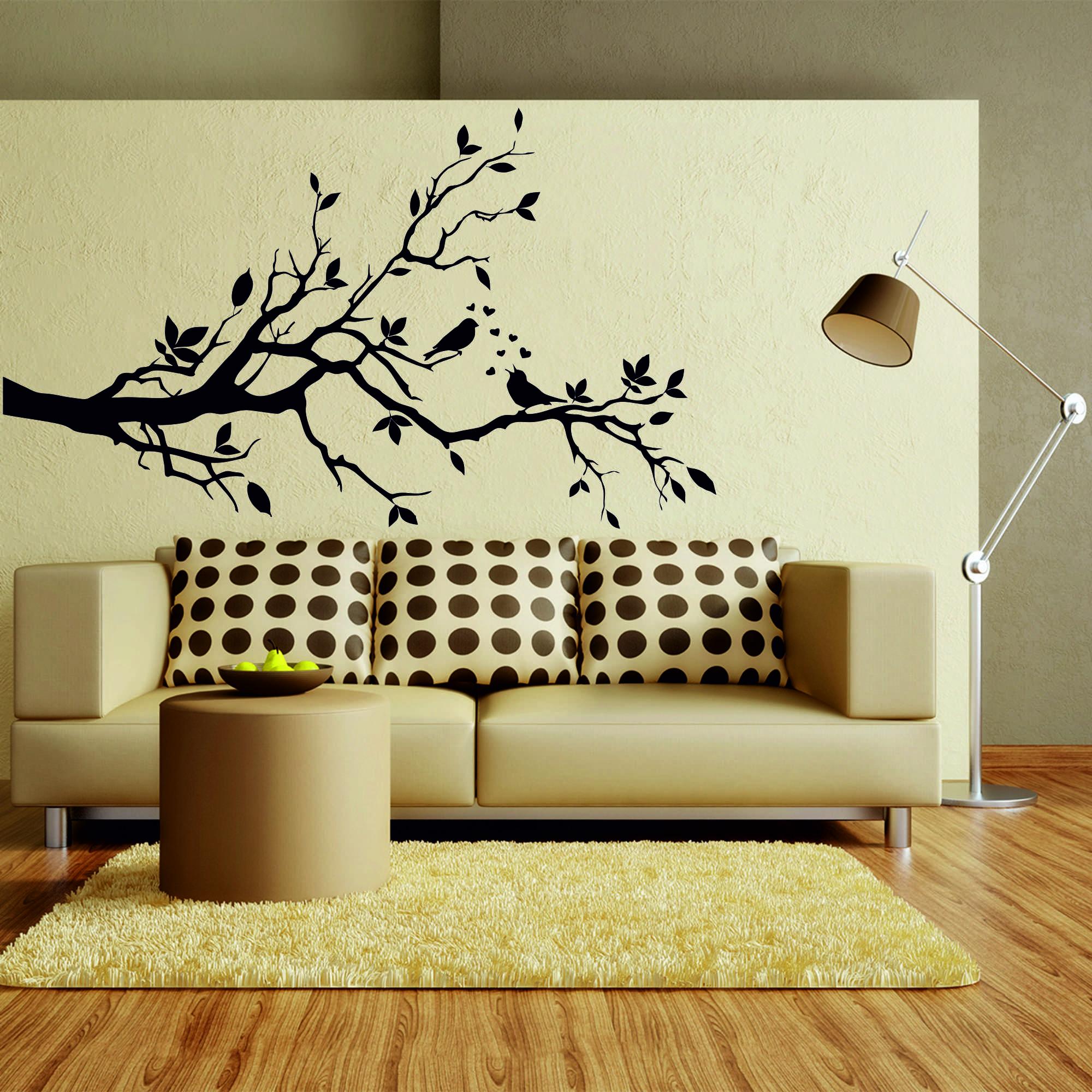 Samolepka na zeď - Větvička s ptáčky - 60x35 cm - PopyDesign
