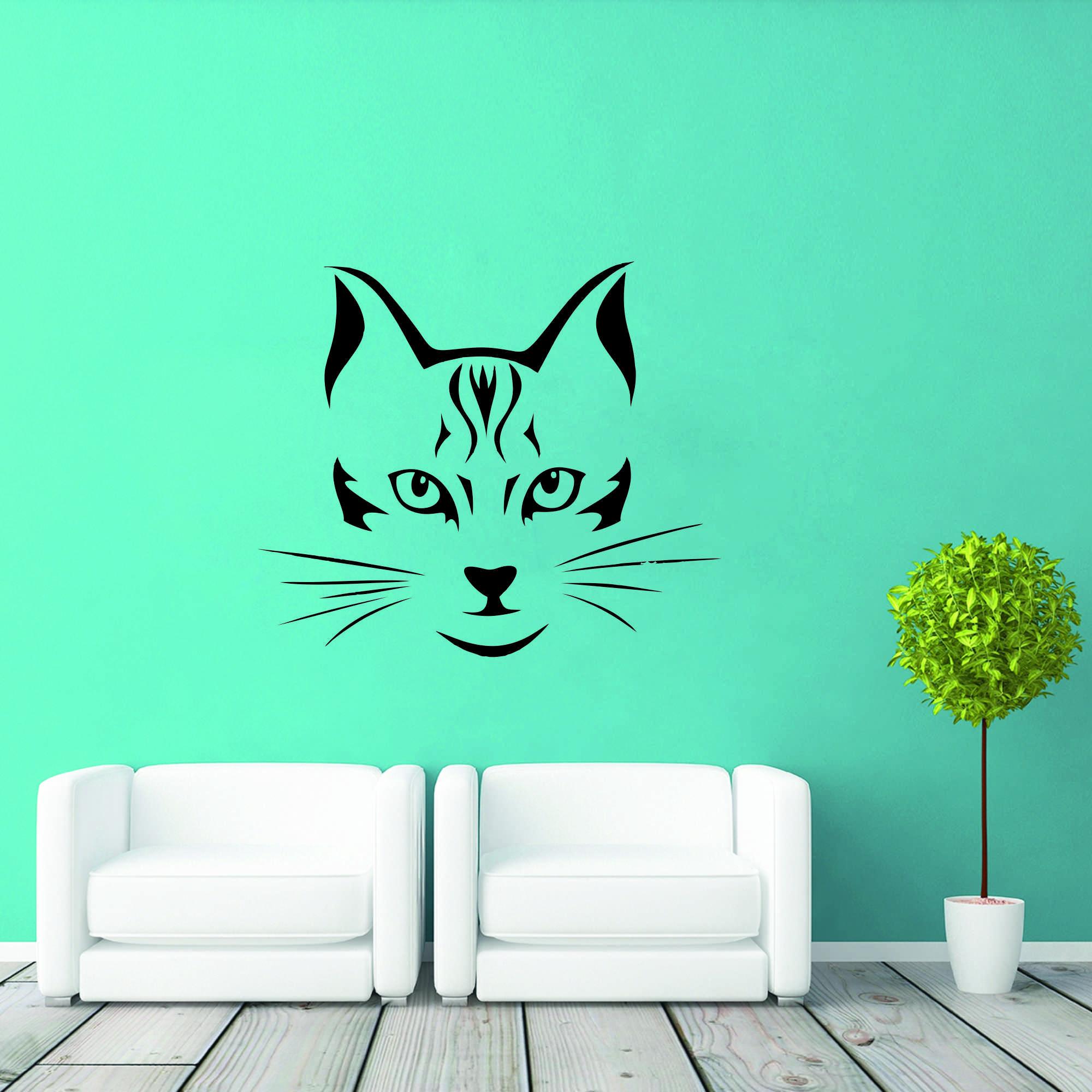 Samolepka na zeď - Kočičí tvář - 60x51 cm - PopyDesign