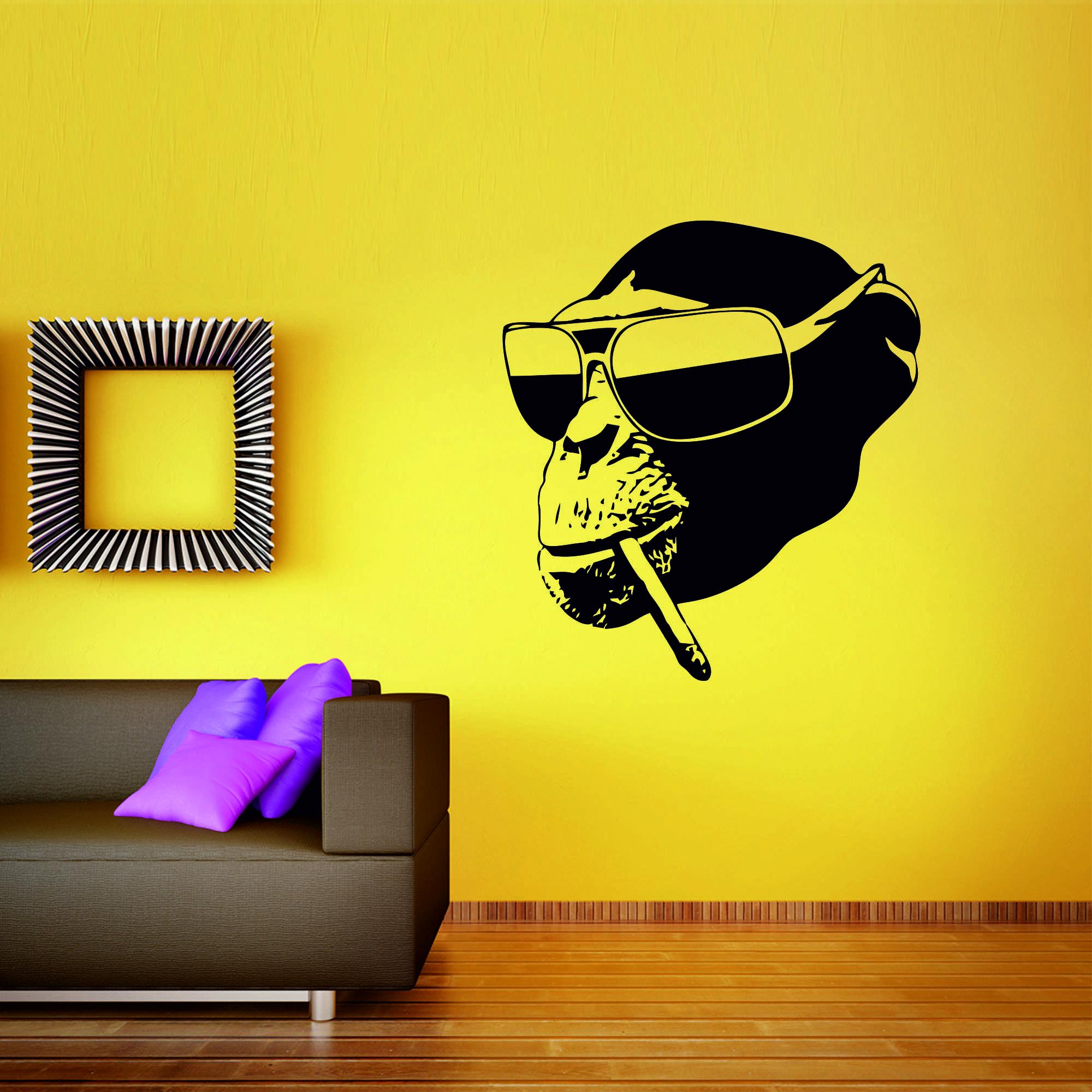 Samolepka na zeď - Opička s cigaretou - 109x120 cm - PopyDesign