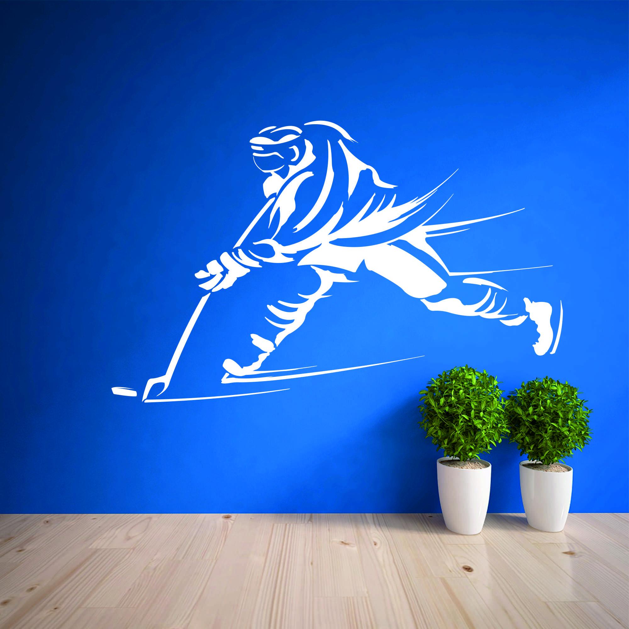 Samolepka na zeď - Střílející hokejista - 60x38 cm - PopyDesign