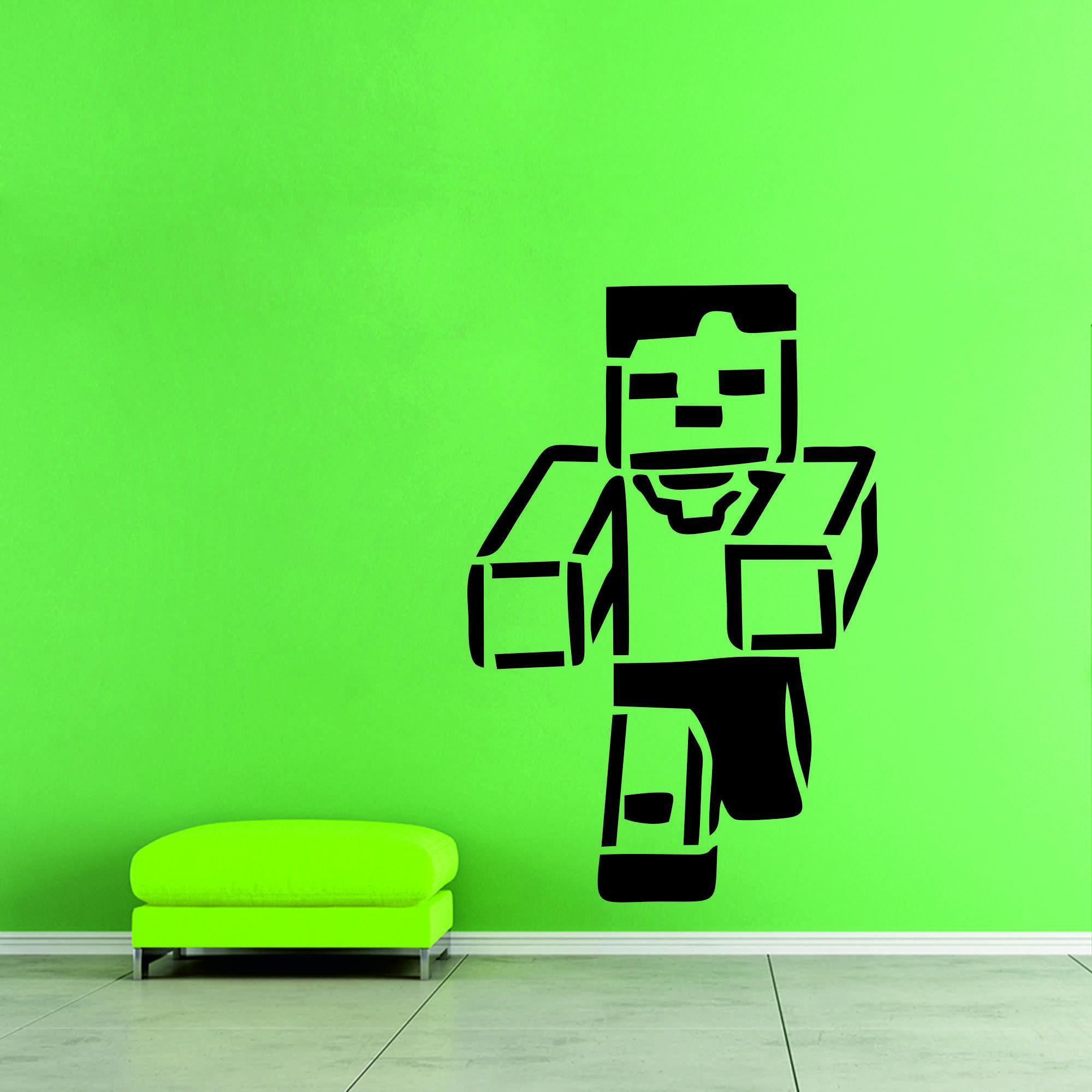 Samolepka na zeď - Minecraft běžící postavička - 80x120 cm - PopyDesign