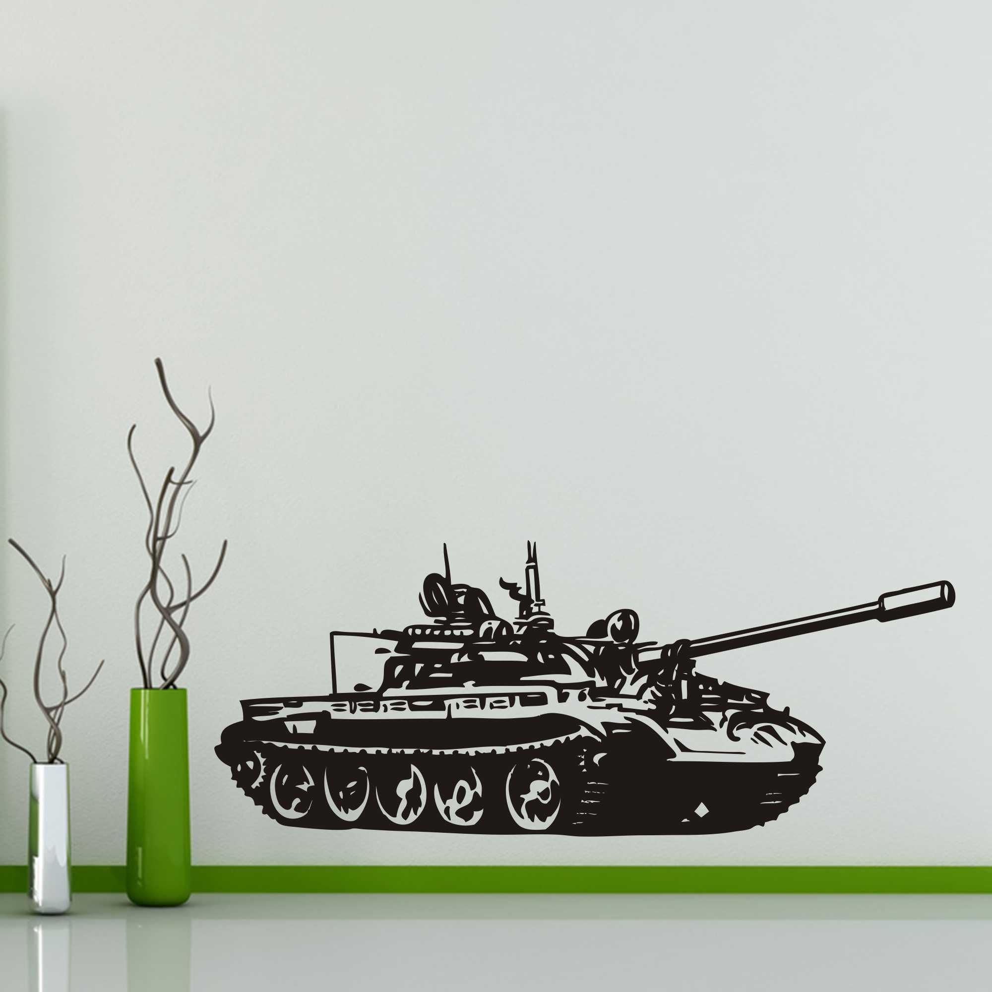 Samolepka na zeď - Tank - 120x49 cm - PopyDesign