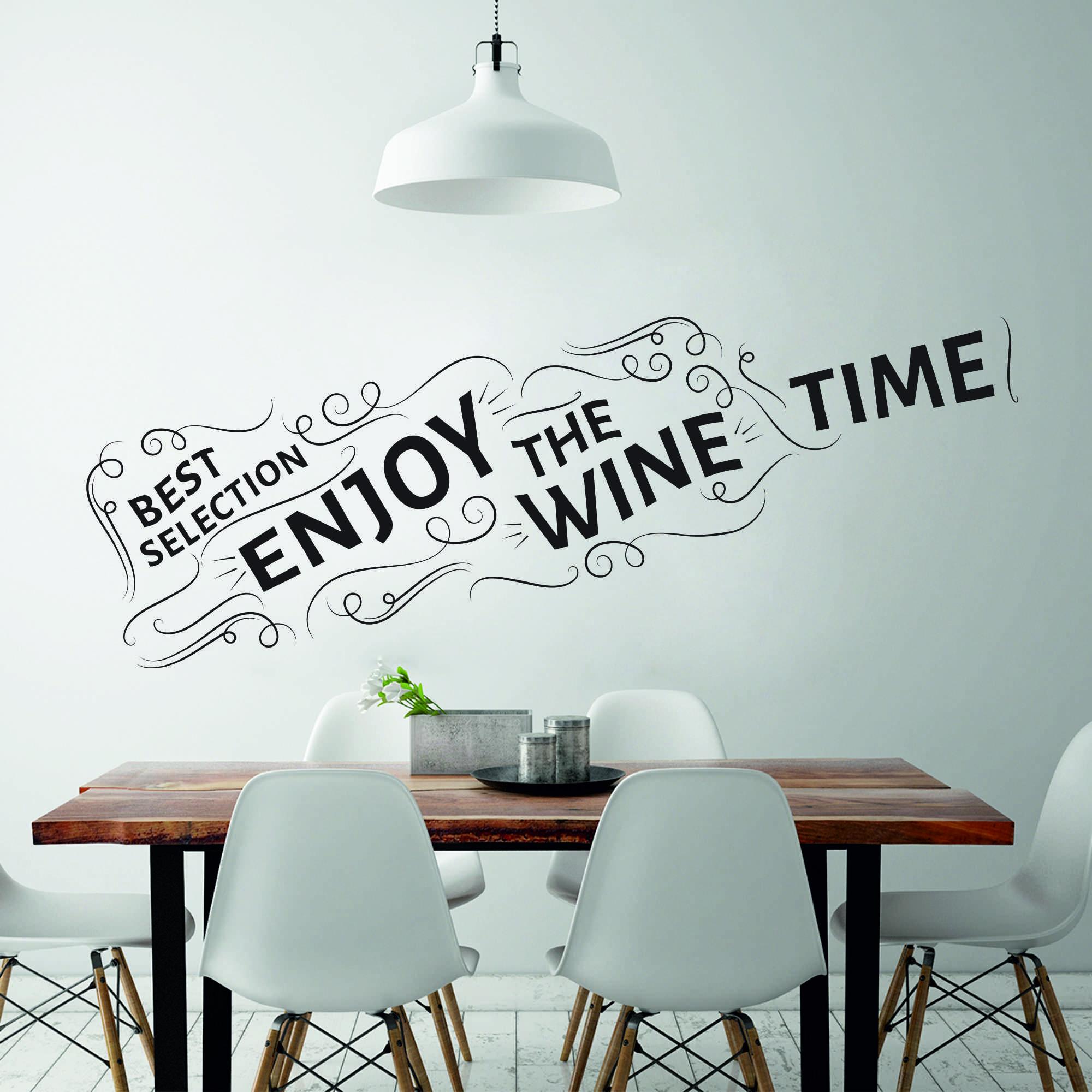 Samolepka na zeď - Láhev vína s nápisy - 120x32 cm - PopyDesign