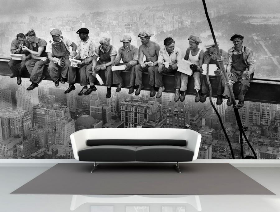 Tapeta - Dělníci na traverze - 120x80 cm - PopyDesign