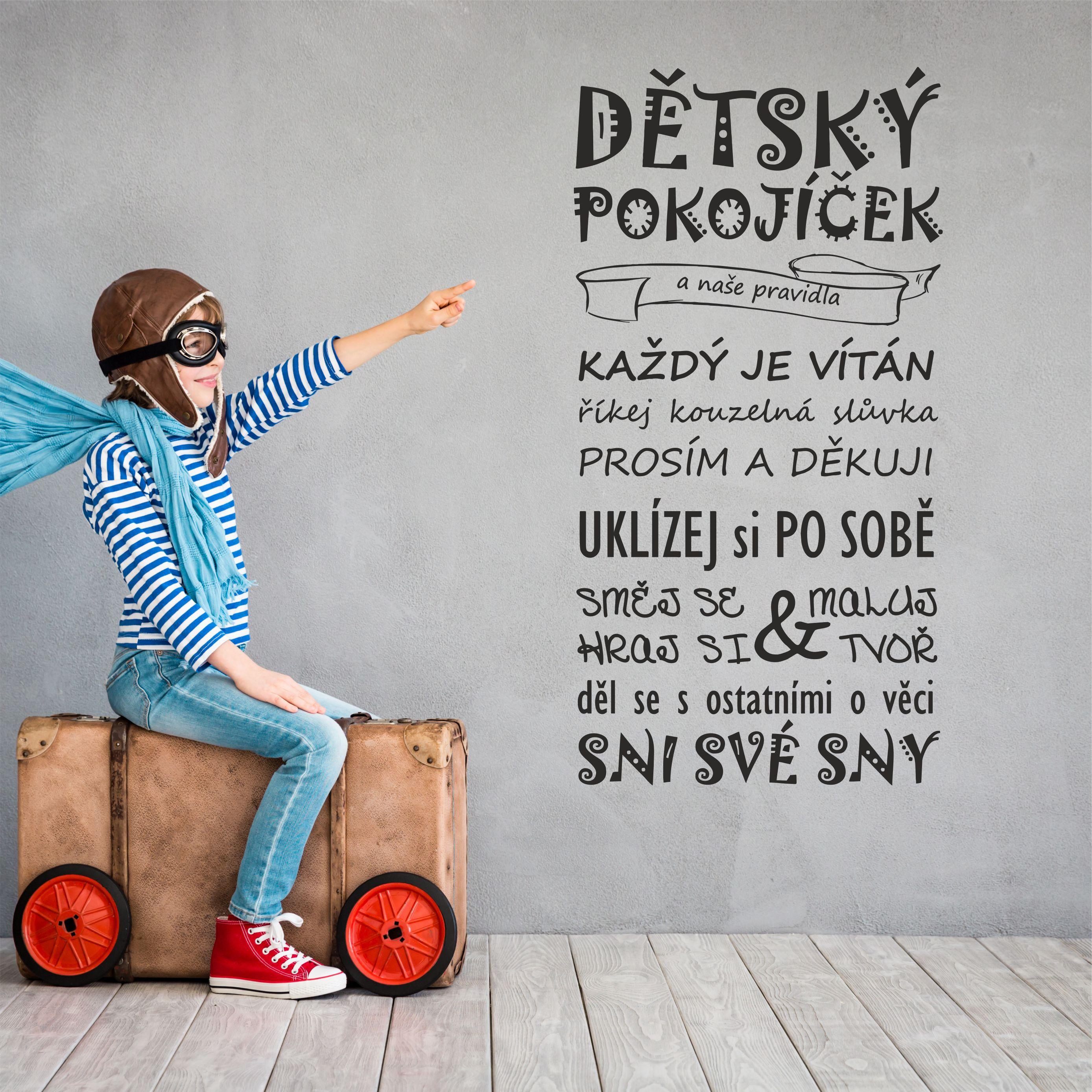 Samolepka na zeď - Dětský pokojíček pravidla - 30x60 cm - PopyDesign
