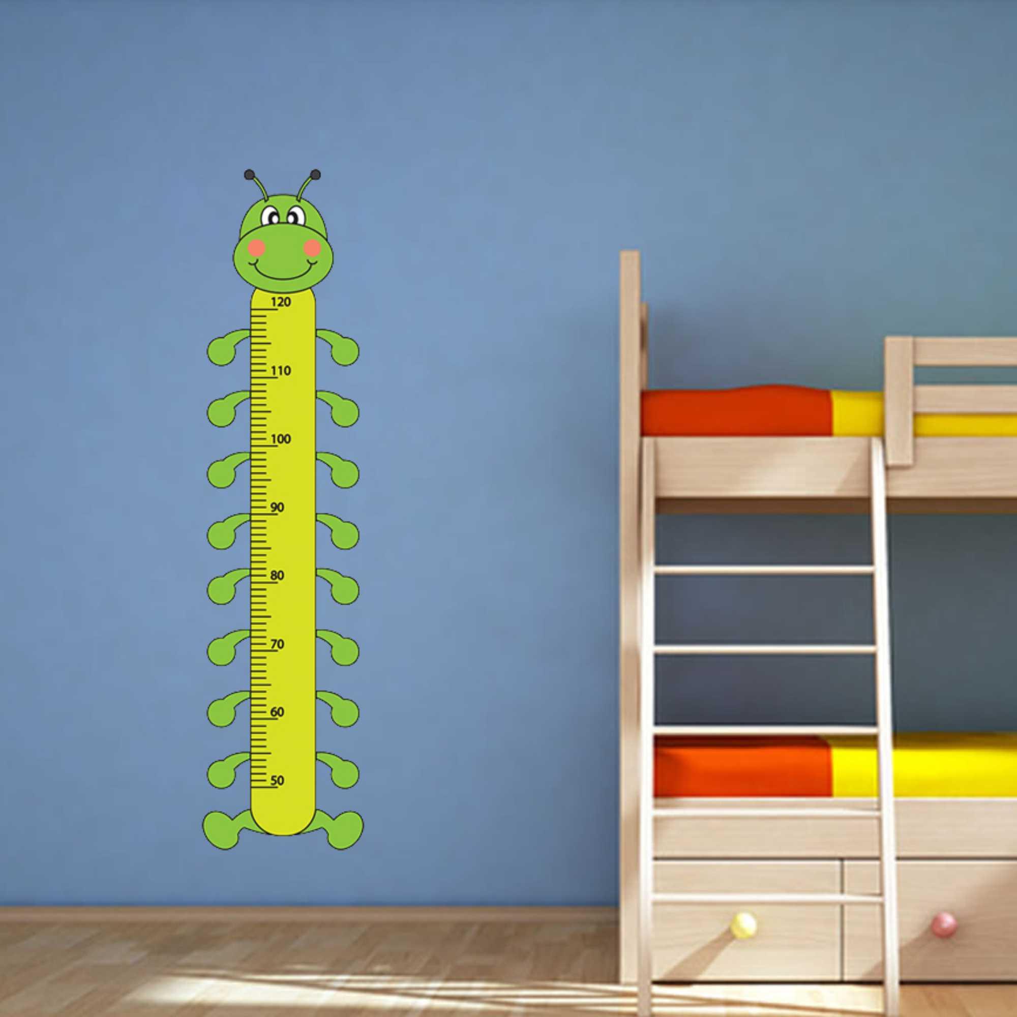 Samolepka na zeď - Dětský metr stonožka - PopyDesign