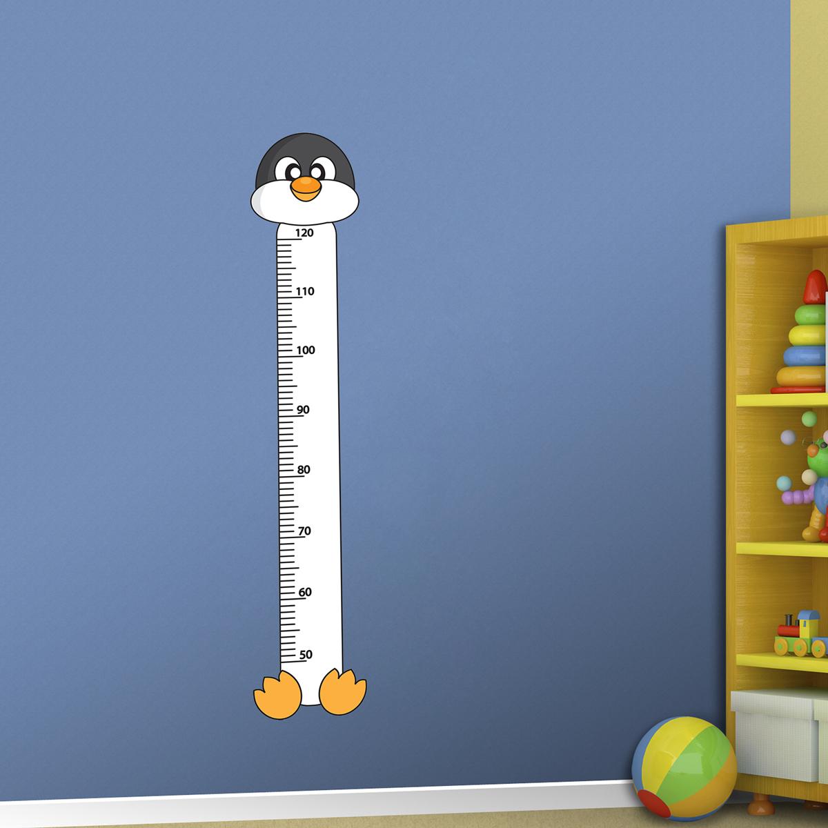 Samolepka na zeď - Dětský metr tučňák - PopyDesign