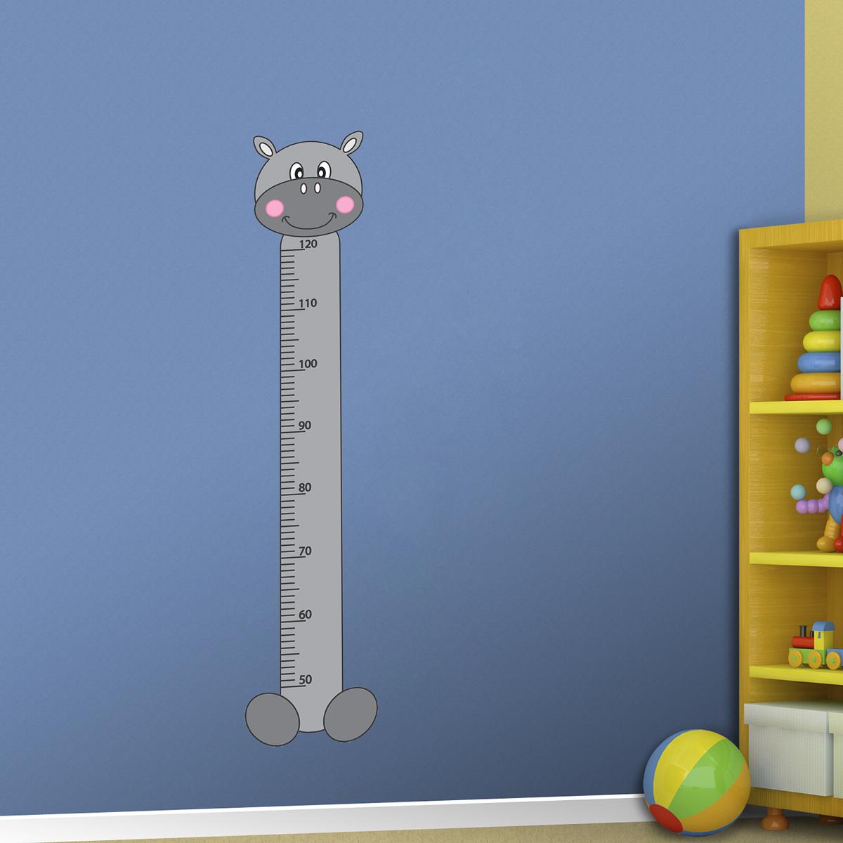Samolepka na zeď - Dětský metr hroch - PopyDesign