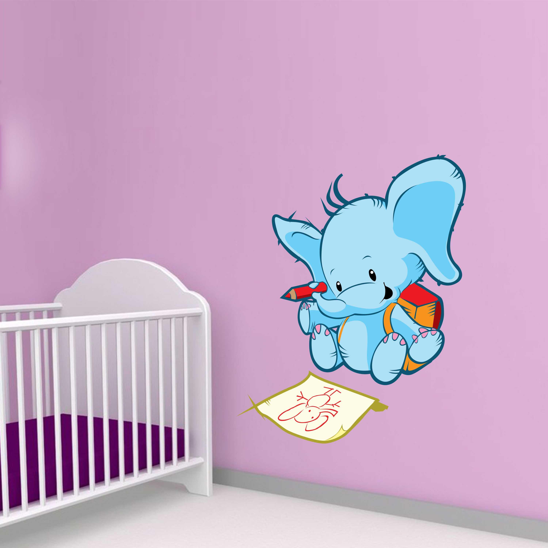 Barevná samolepka na zeď - Kreslící slon - 120x89 cm - PopyDesign