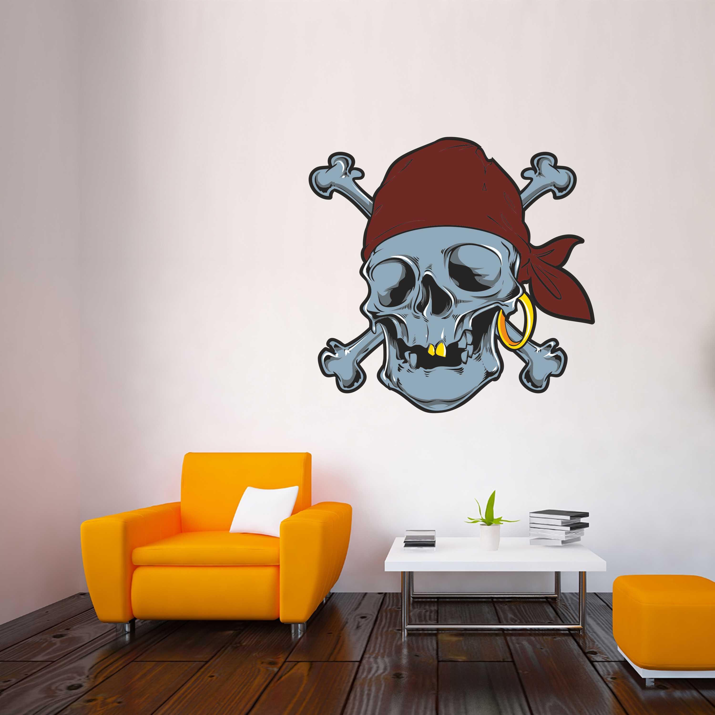 Barevná samolepka na zeď - Pirátská lebka - 120x114 cm - PopyDesign