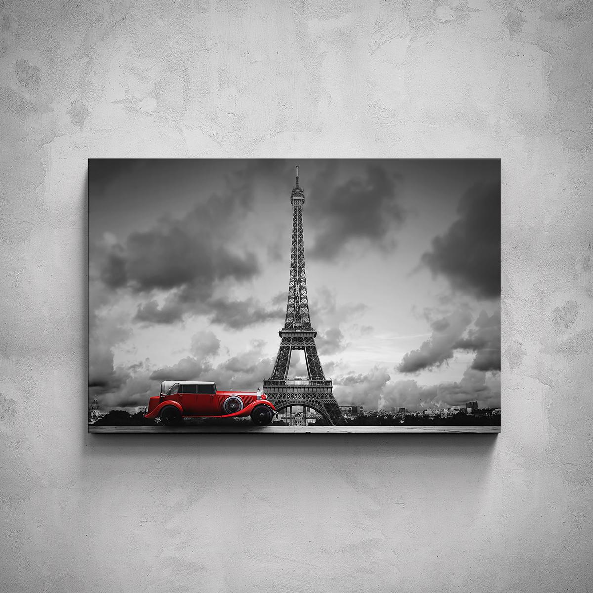 Obraz - Eiffelova Věž s autem - PopyDesign