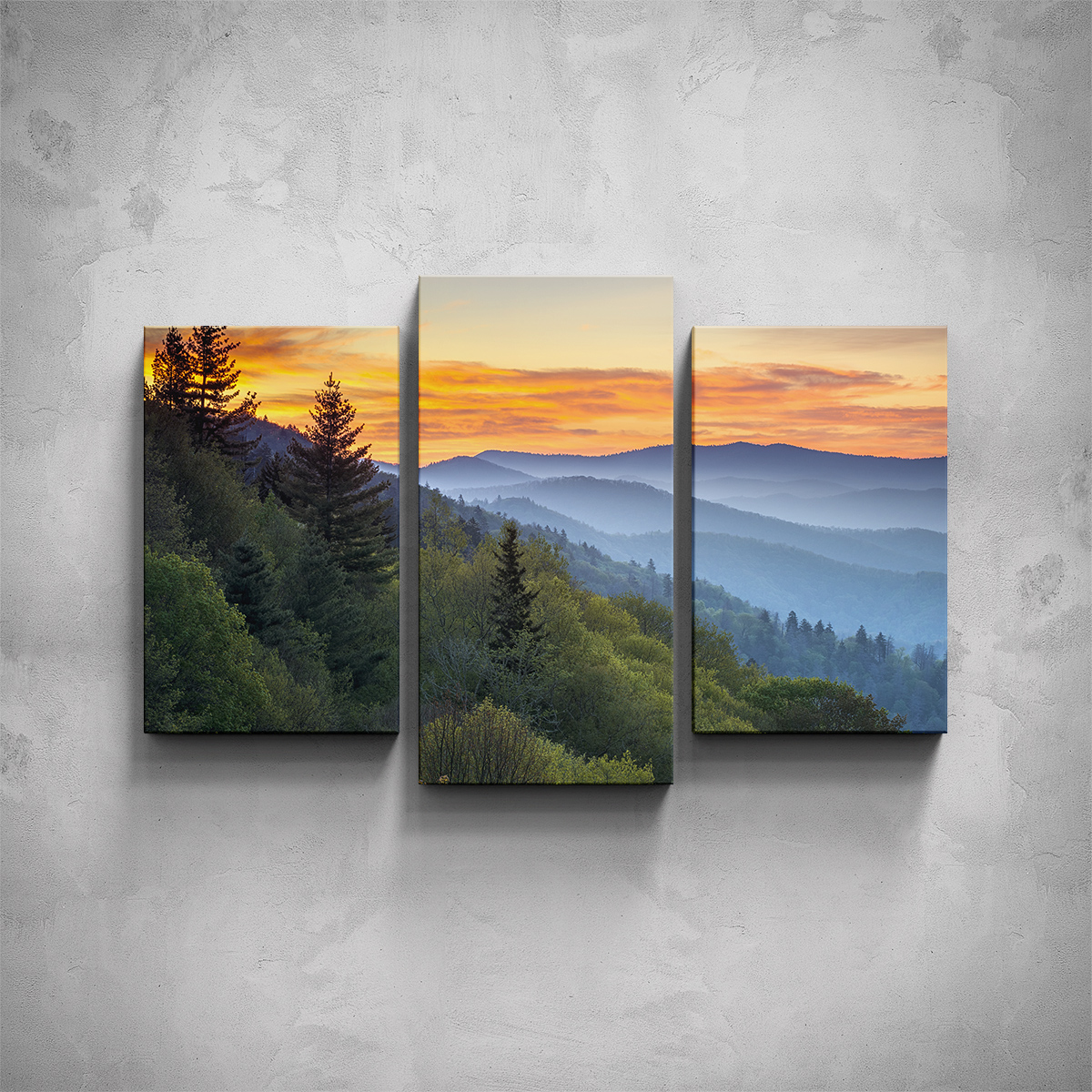 3-dílný obraz - Hory při západu - PopyDesign