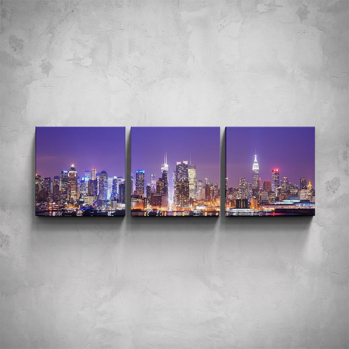 3-dílný obraz - Noční New York - PopyDesign