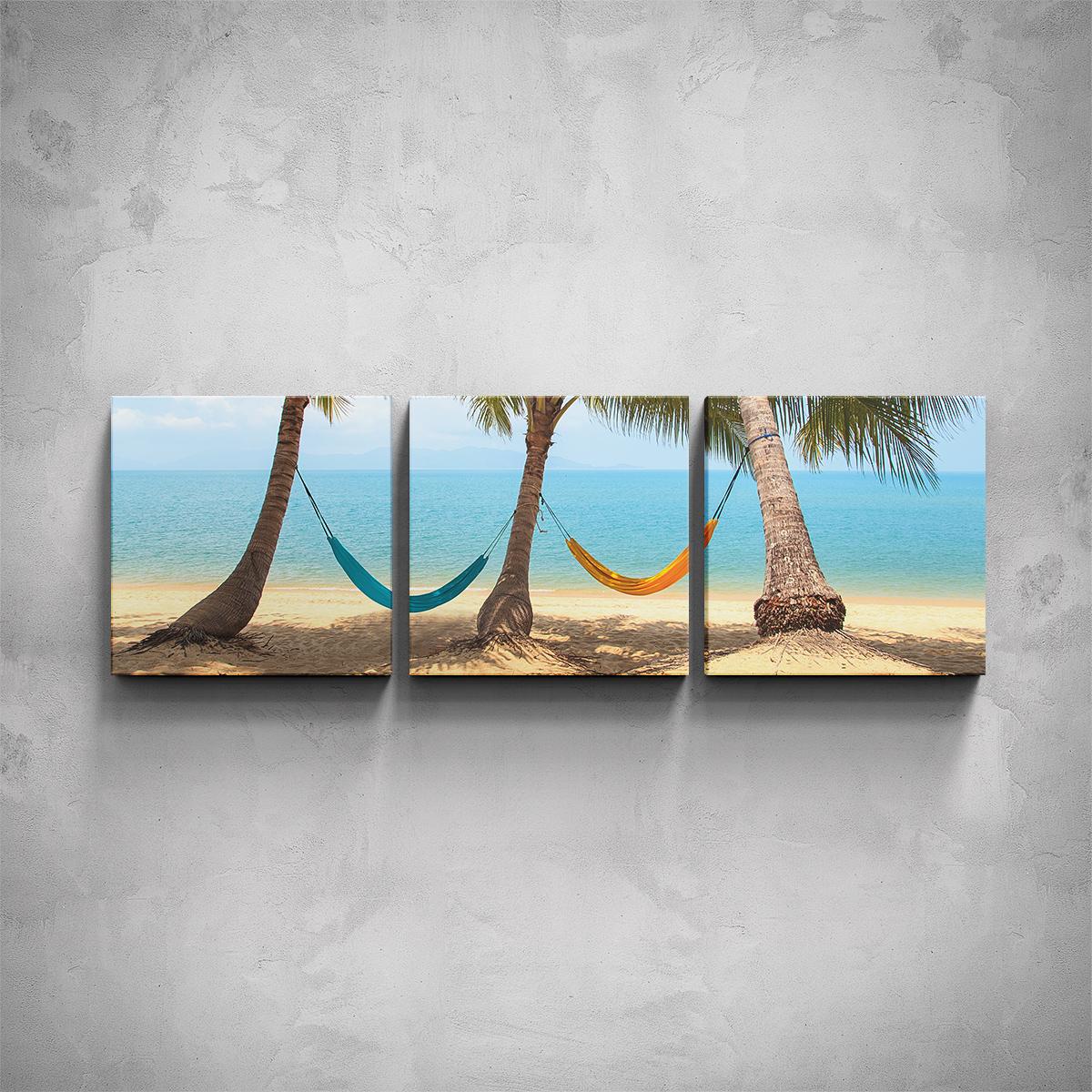 3-dílný obraz - Houpací sítě na pláži - PopyDesign